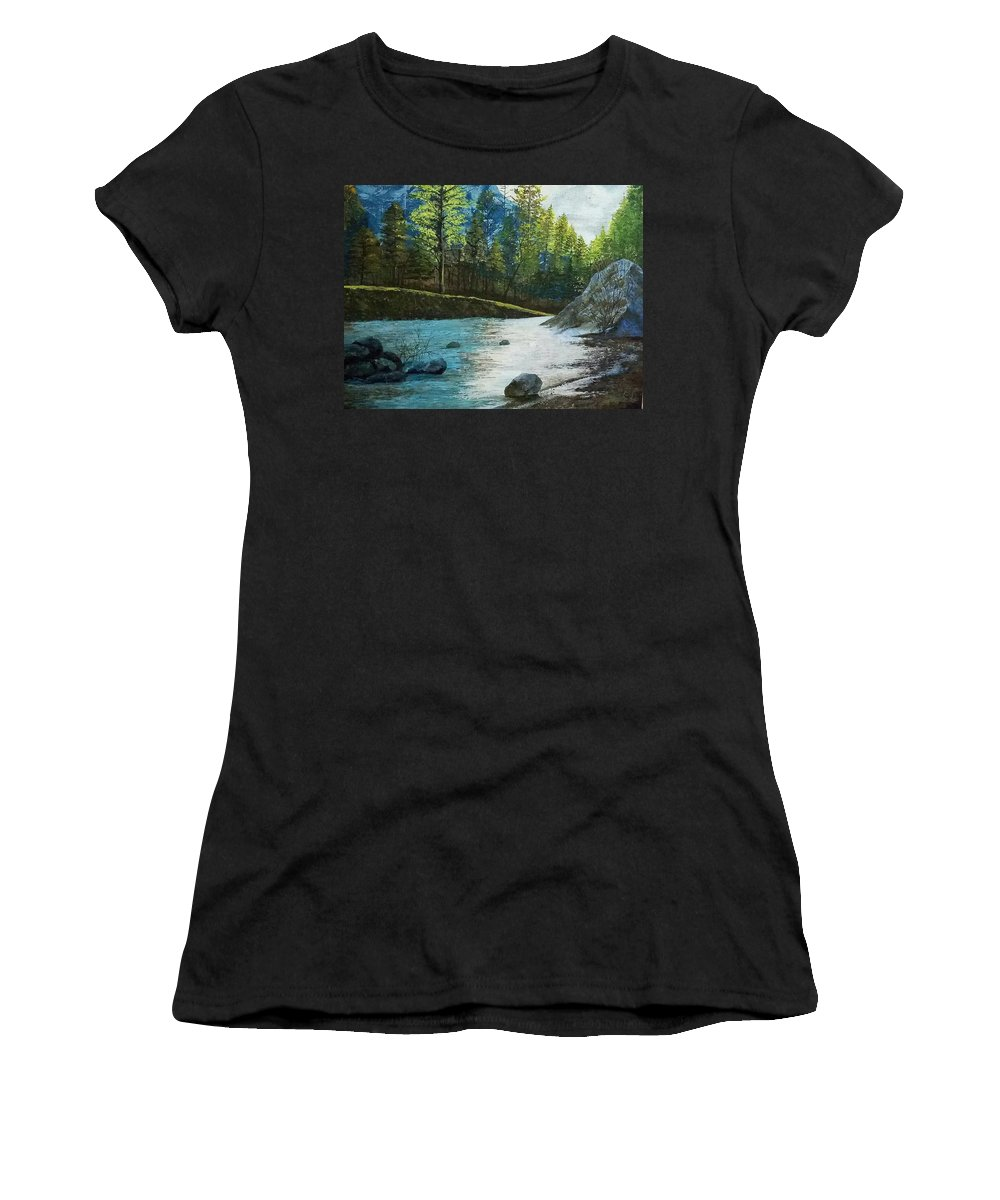 Nature Women's T-Shirt featuring the painting Pine Trees by Teesta Deshpande