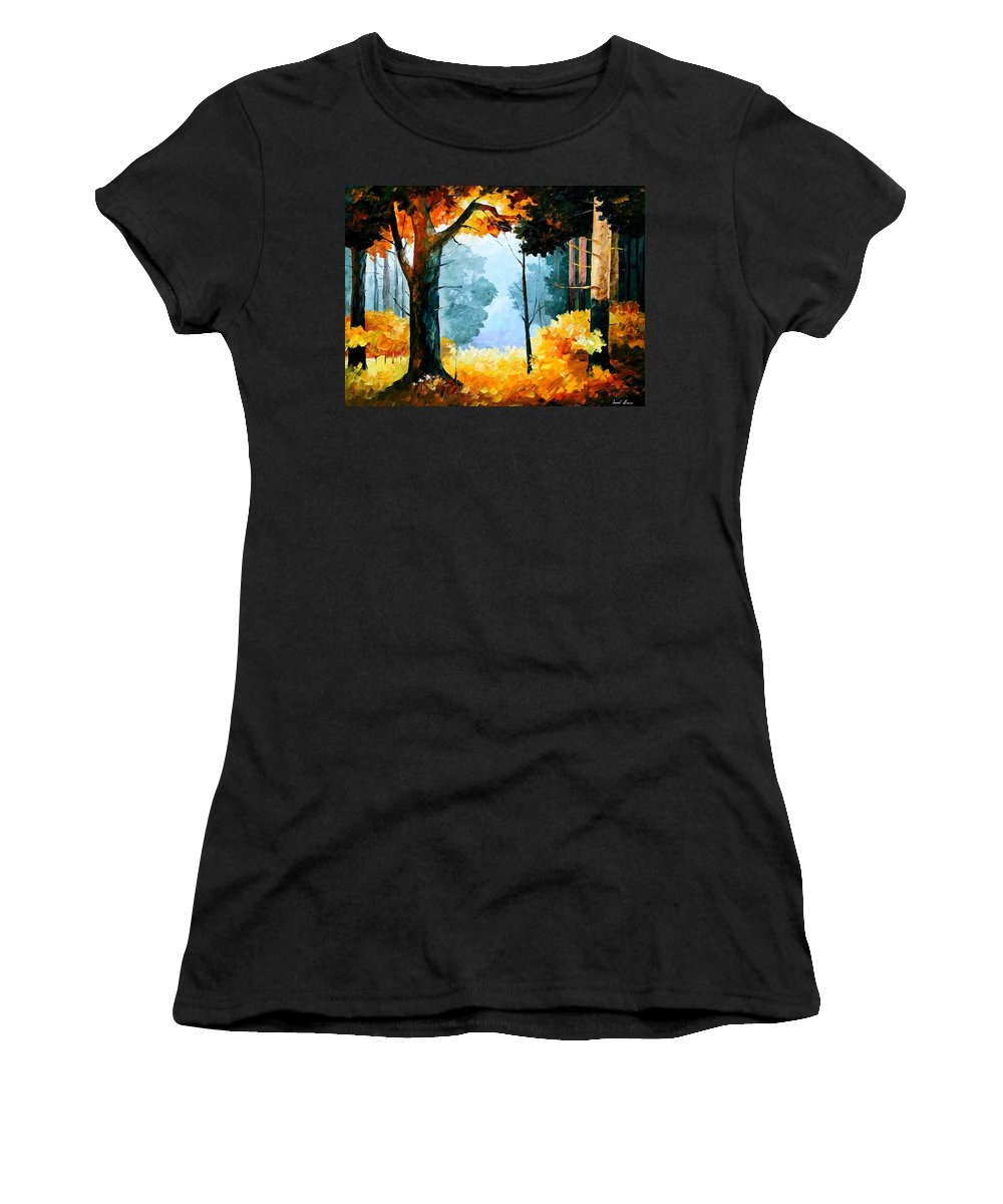 Afremov Women's T-Shirt (Athletic Fit) featuring the painting Pine Wood by Leonid Afremov