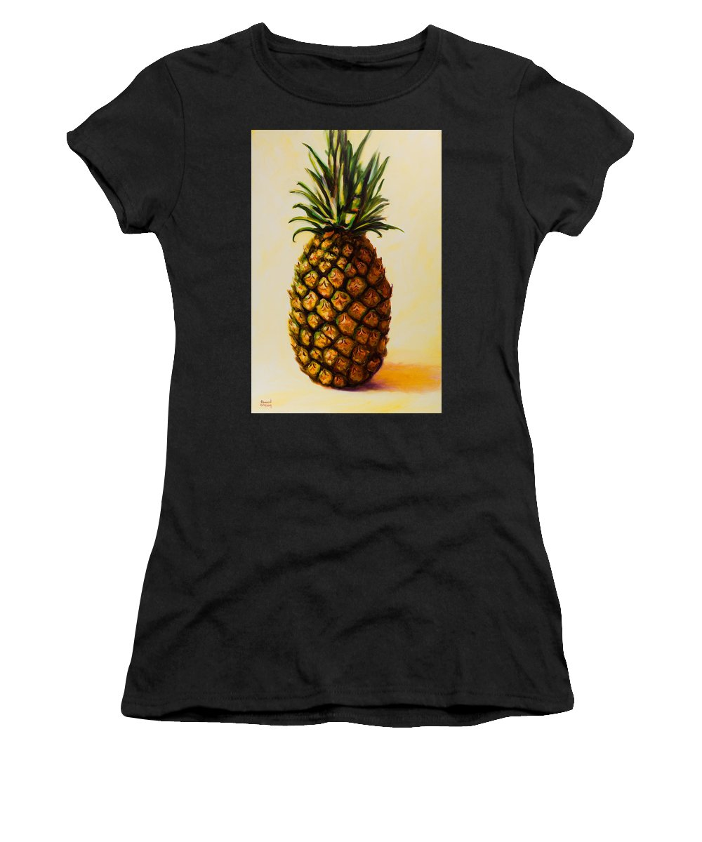 Pineapple Women's T-Shirt featuring the painting Pineapple Angel by Shannon Grissom