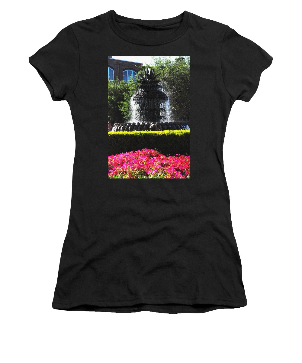 Photography Women's T-Shirt (Athletic Fit) featuring the photograph Pineapple Fountain Charleston Sc by Susanne Van Hulst