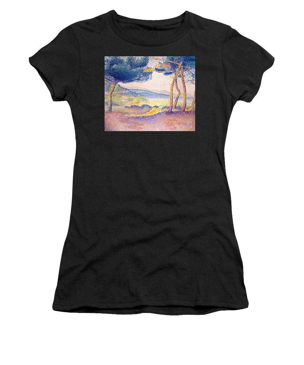 Henri Edmond Cross Women's T-Shirt (Athletic Fit) featuring the painting Pines Along The Shore, 1896 by Henri Edmond Cross