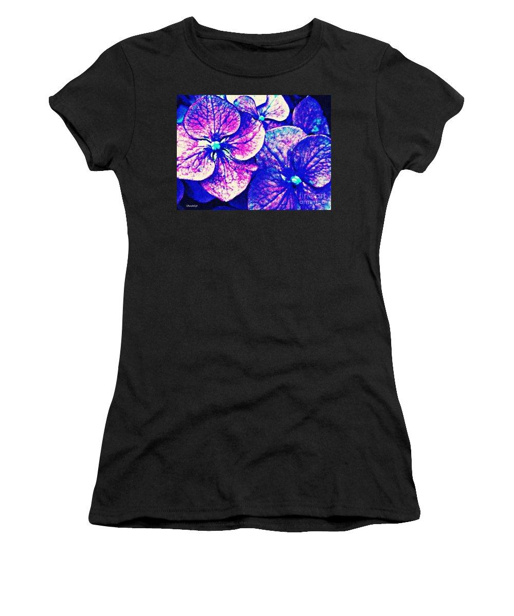 Pink And Blue Hydrangea Women's T-Shirt featuring the photograph Pink And Blue Hydrangea by Sarah Loft