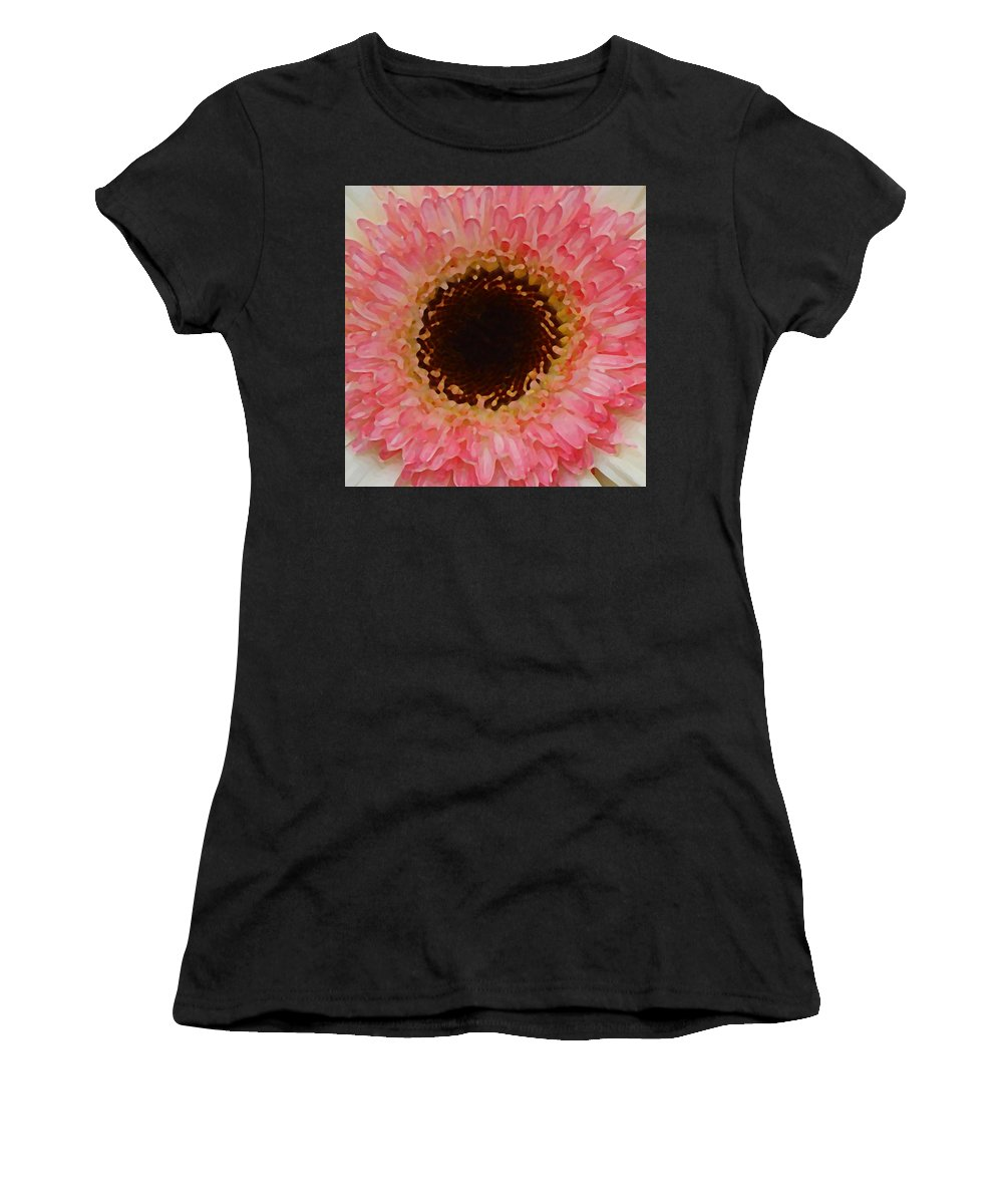 Daisy Women's T-Shirt (Athletic Fit) featuring the painting Pink And Brown Gerber Center by Amy Vangsgard