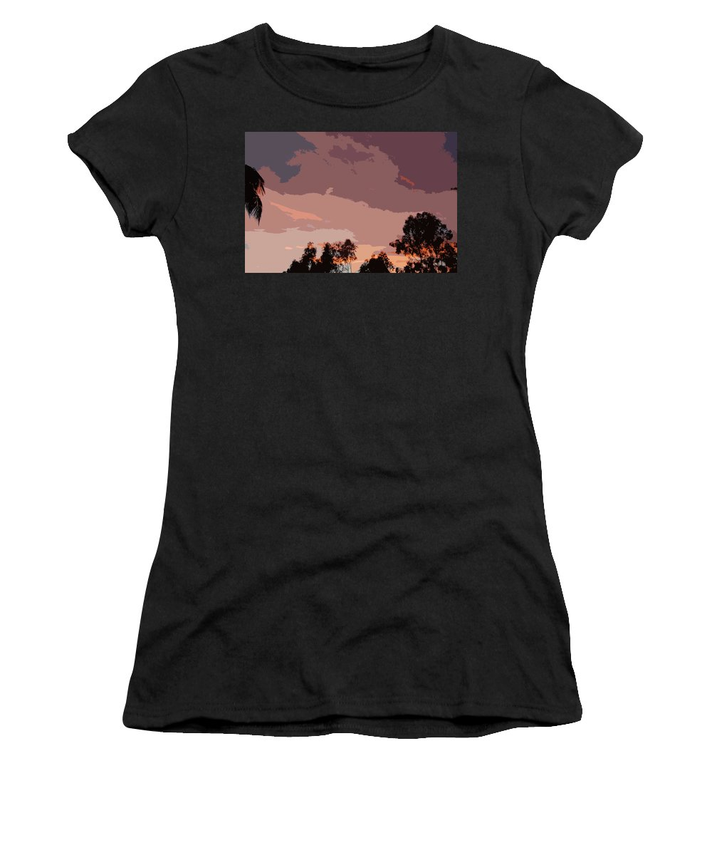 Linda Brody Women's T-Shirt (Athletic Fit) featuring the digital art Pink And Mauve Sky Abstract by Linda Brody