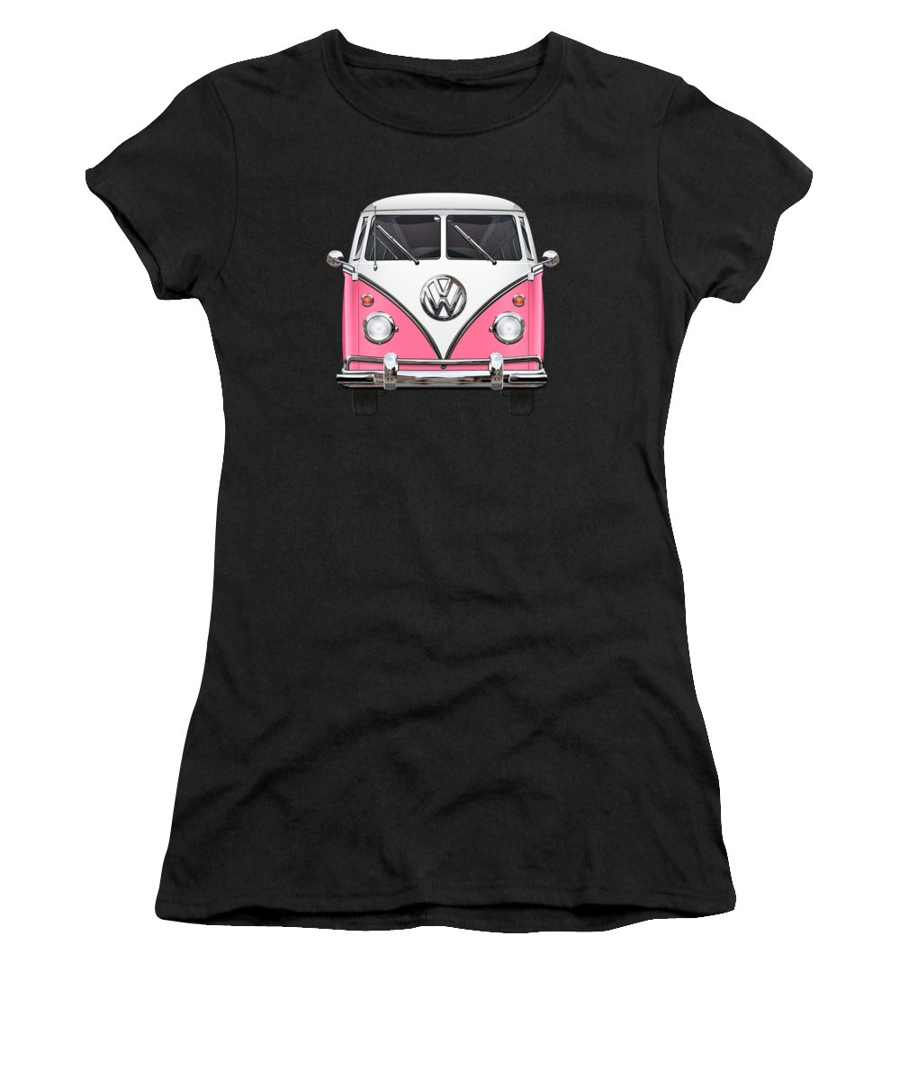 'volkswagen Type 2' Collection By Serge Averbukh Women's T-Shirt featuring the photograph Pink And White Volkswagen T 1 Samba Bus On Yellow by Serge Averbukh