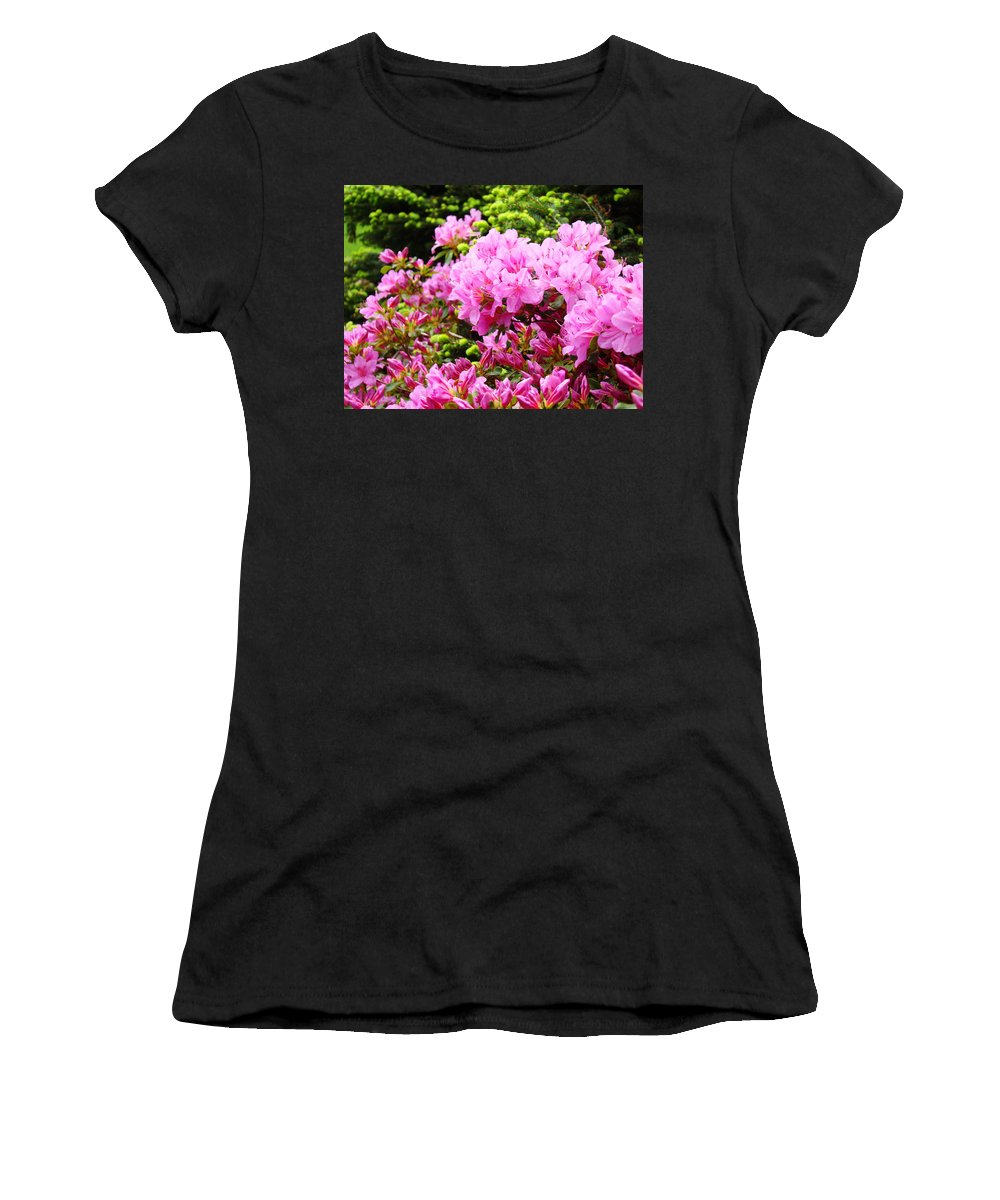 �azaleas Artwork� Women's T-Shirt (Athletic Fit) featuring the photograph Pink Azalea Flowers Landscape 11 Art Prints Canvas Artwork Framed Art Cards by Baslee Troutman