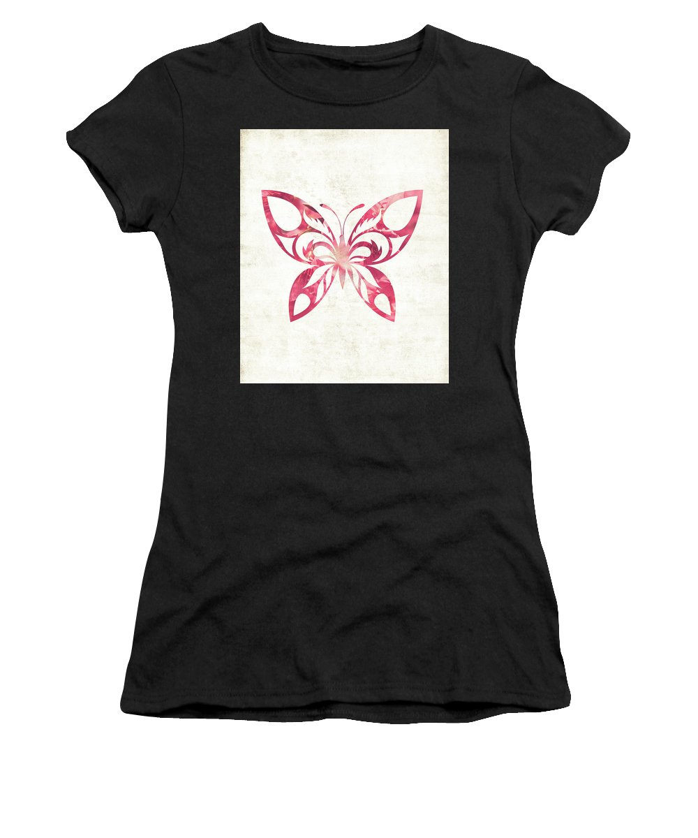 Butterfly Women's T-Shirt featuring the photograph Pink Butterfly by Andrea Anderegg