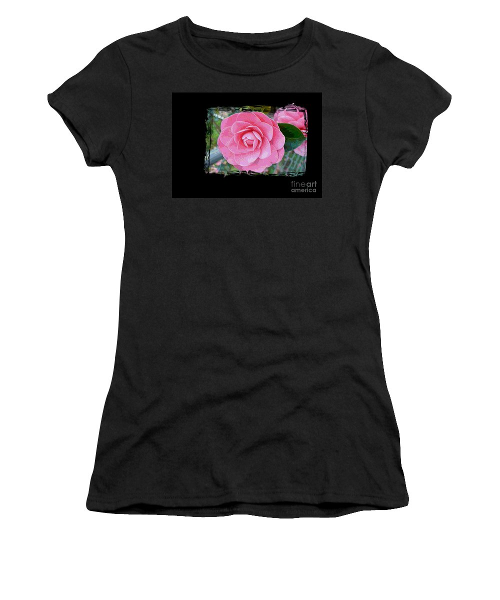 Pink Camelllias Women's T-Shirt featuring the photograph Pink Camellias With Fence And Framing by Carol Groenen