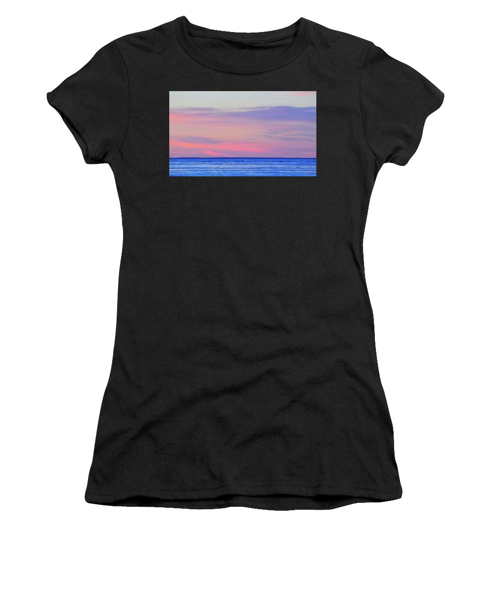 Abstract Women's T-Shirt (Athletic Fit) featuring the photograph Pink Clouds Above The  by Lyle Crump
