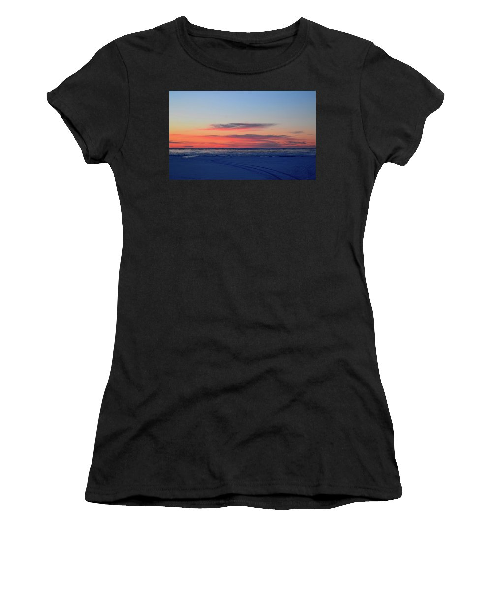 Abstract Women's T-Shirt (Athletic Fit) featuring the photograph Pink Clouds Before Sunrise Two by Lyle Crump