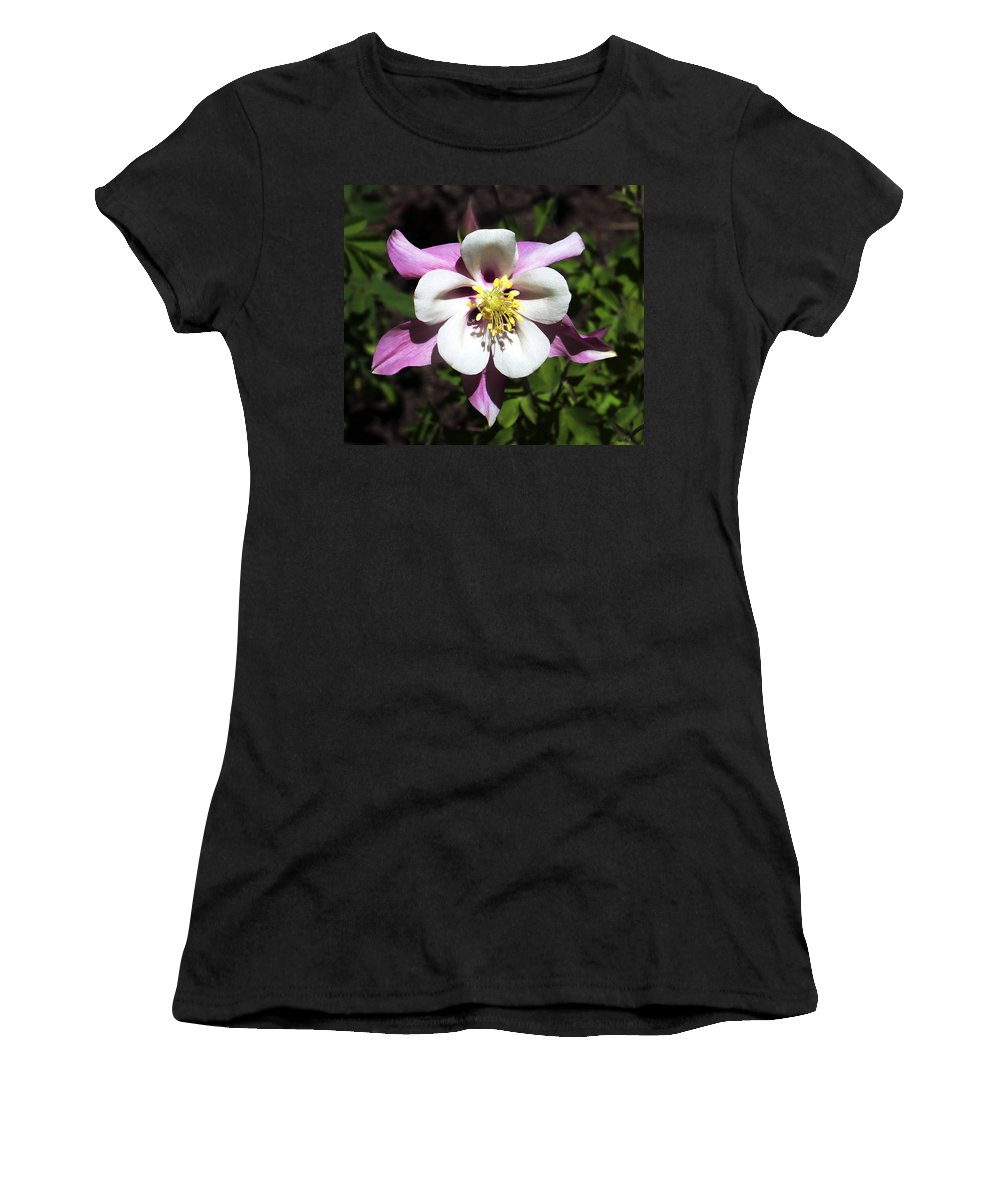 Columbine Women's T-Shirt (Athletic Fit) featuring the photograph Pink Columbine by Marilyn Hunt