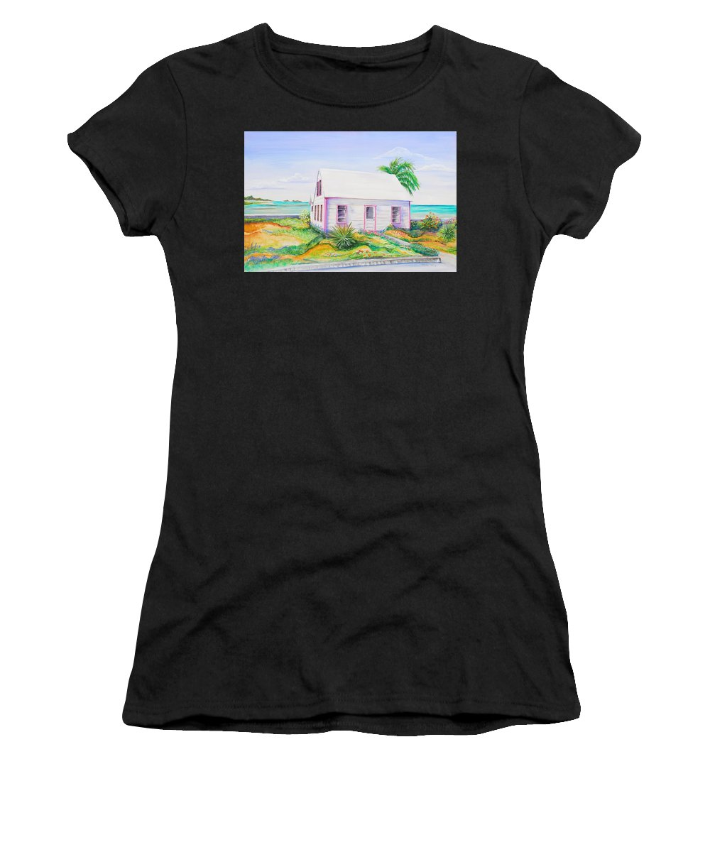Seaside Cottage Women's T-Shirt (Athletic Fit) featuring the painting Pink Cottage by Patricia Piffath