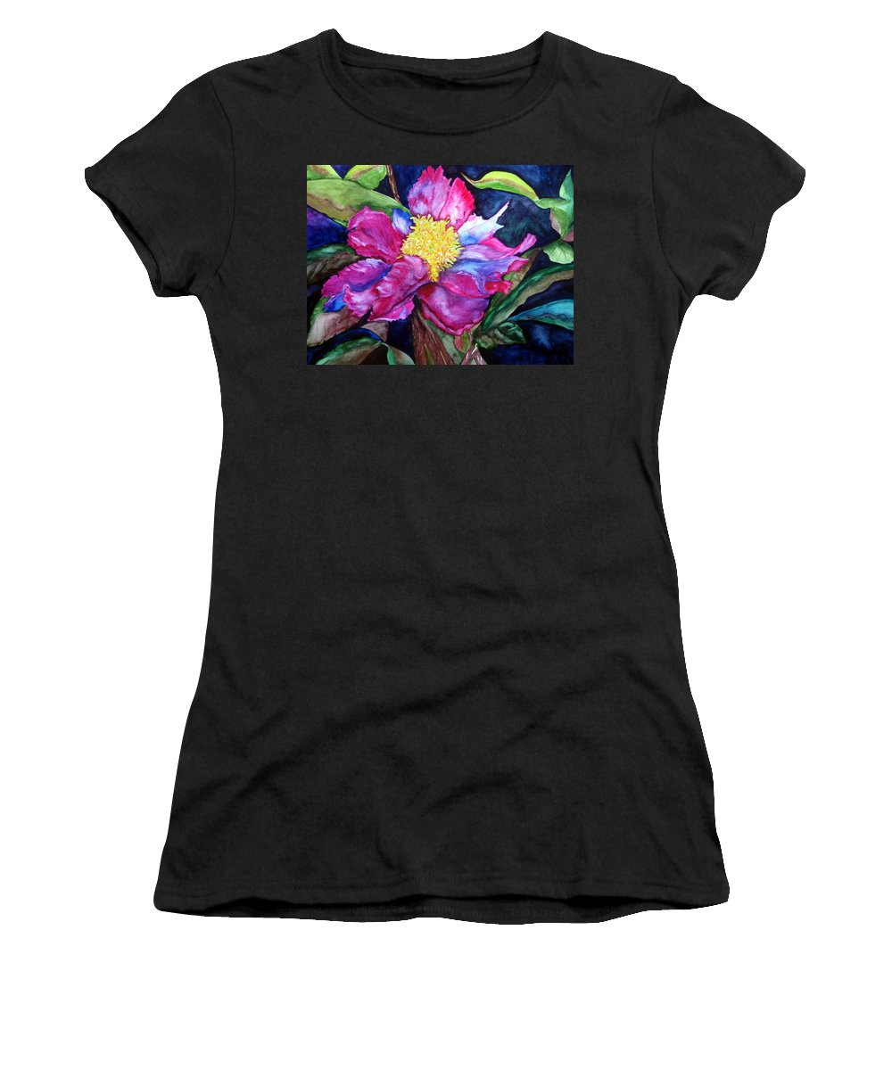 Pink Flower Women's T-Shirt (Athletic Fit) featuring the painting Pink Drama by Lil Taylor
