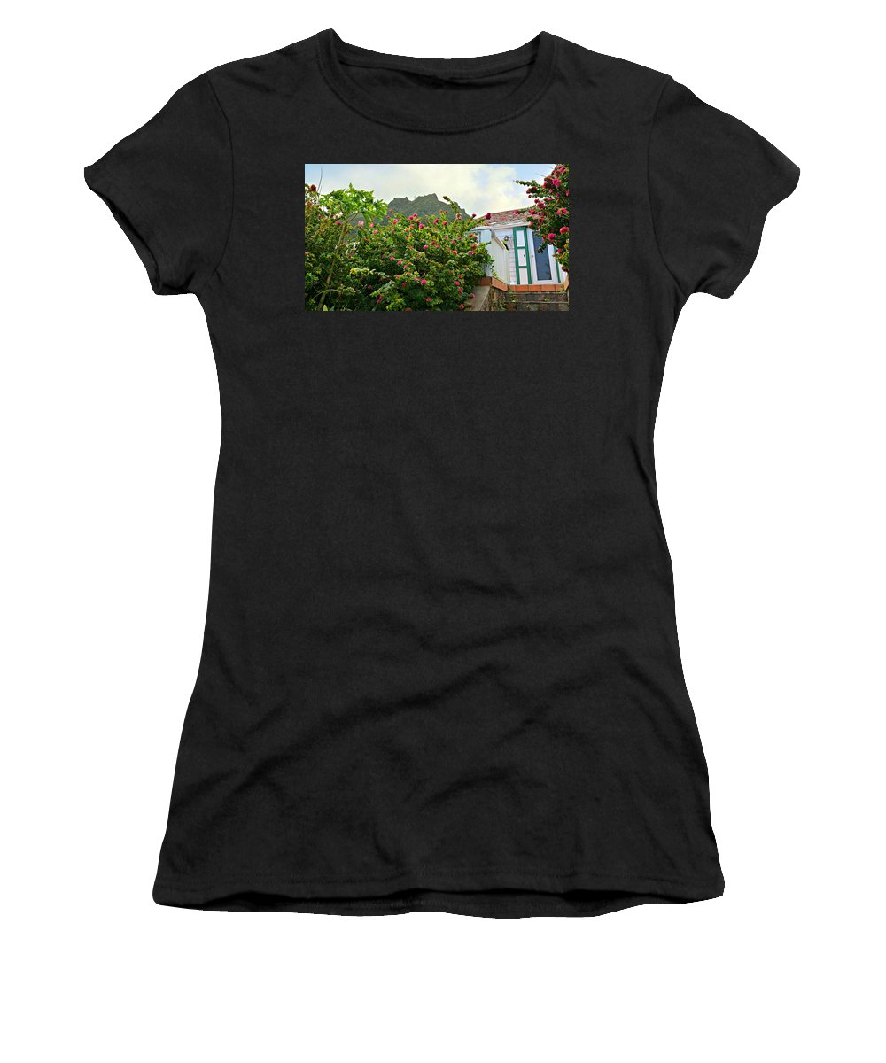 Saba Women's T-Shirt featuring the photograph Pink Flower Explosion by Ingrid Zagers