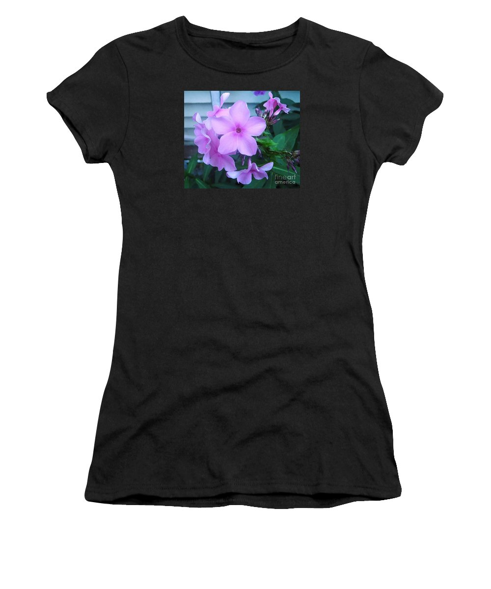 Pink Flowers Artwork Women's T-Shirt (Athletic Fit) featuring the photograph Pink Flowers In The Garden by Reb Frost