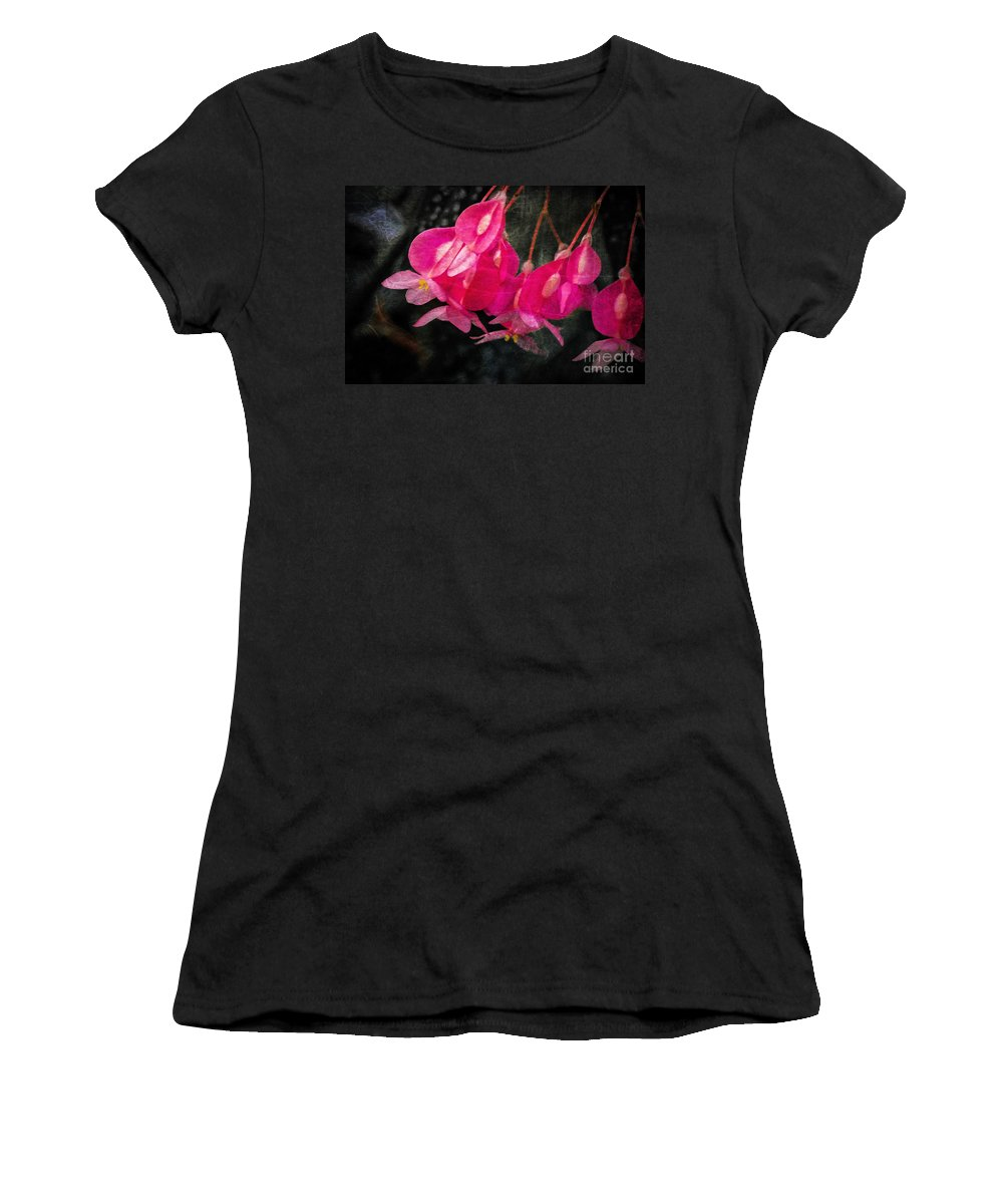 Flowers Women's T-Shirt (Athletic Fit) featuring the photograph Pink Flowers by Susan Grube