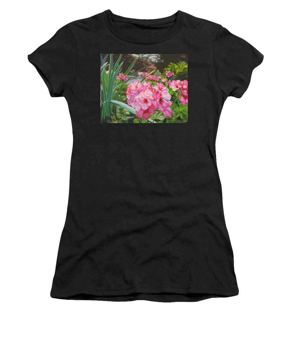 Pink Geraniums Women's T-Shirt (Athletic Fit) featuring the painting Pink Geraniums by Lea Novak