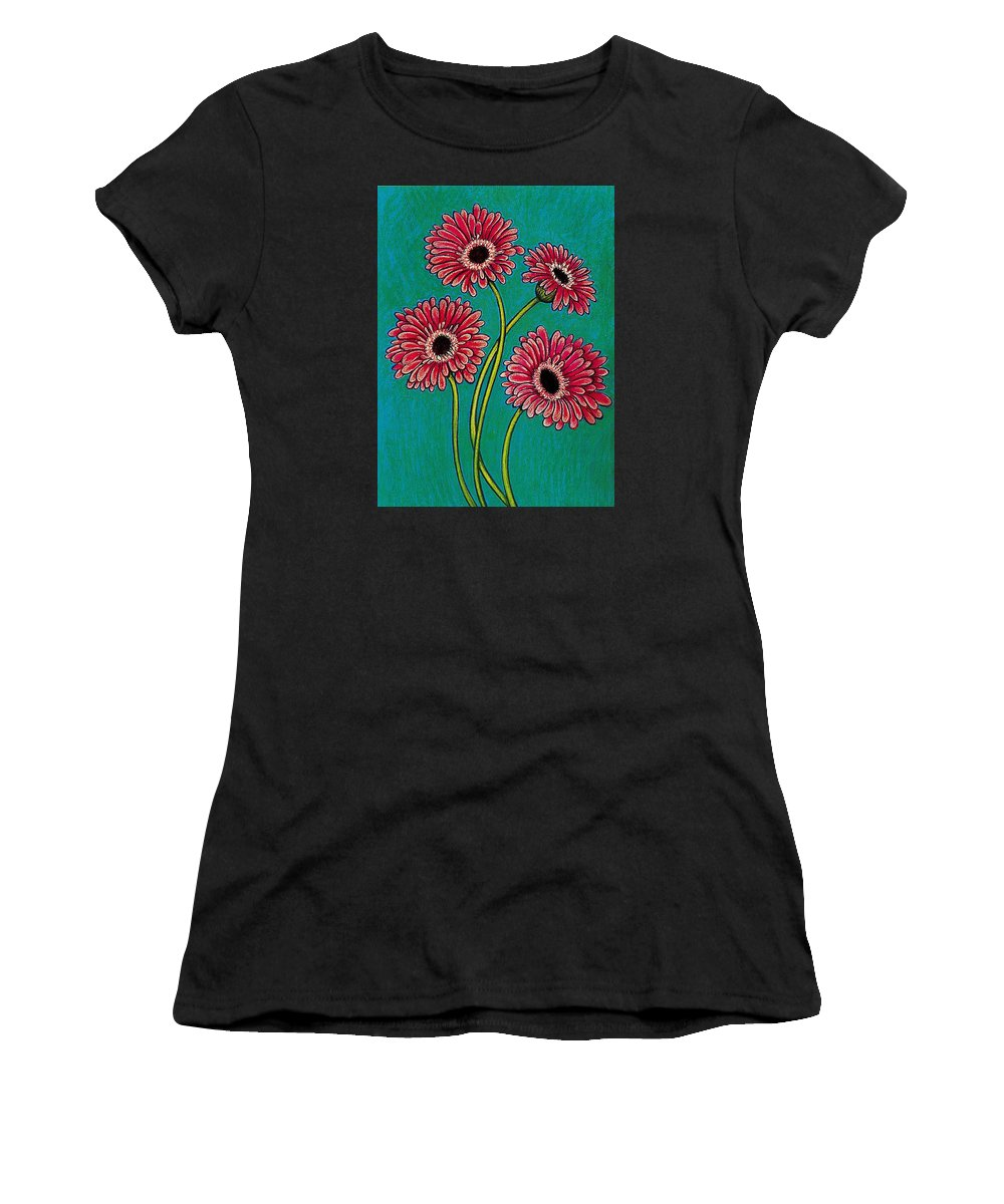 Pink Gerberas Women's T-Shirt (Athletic Fit) featuring the pastel Pink Gerberas by Richard Lee