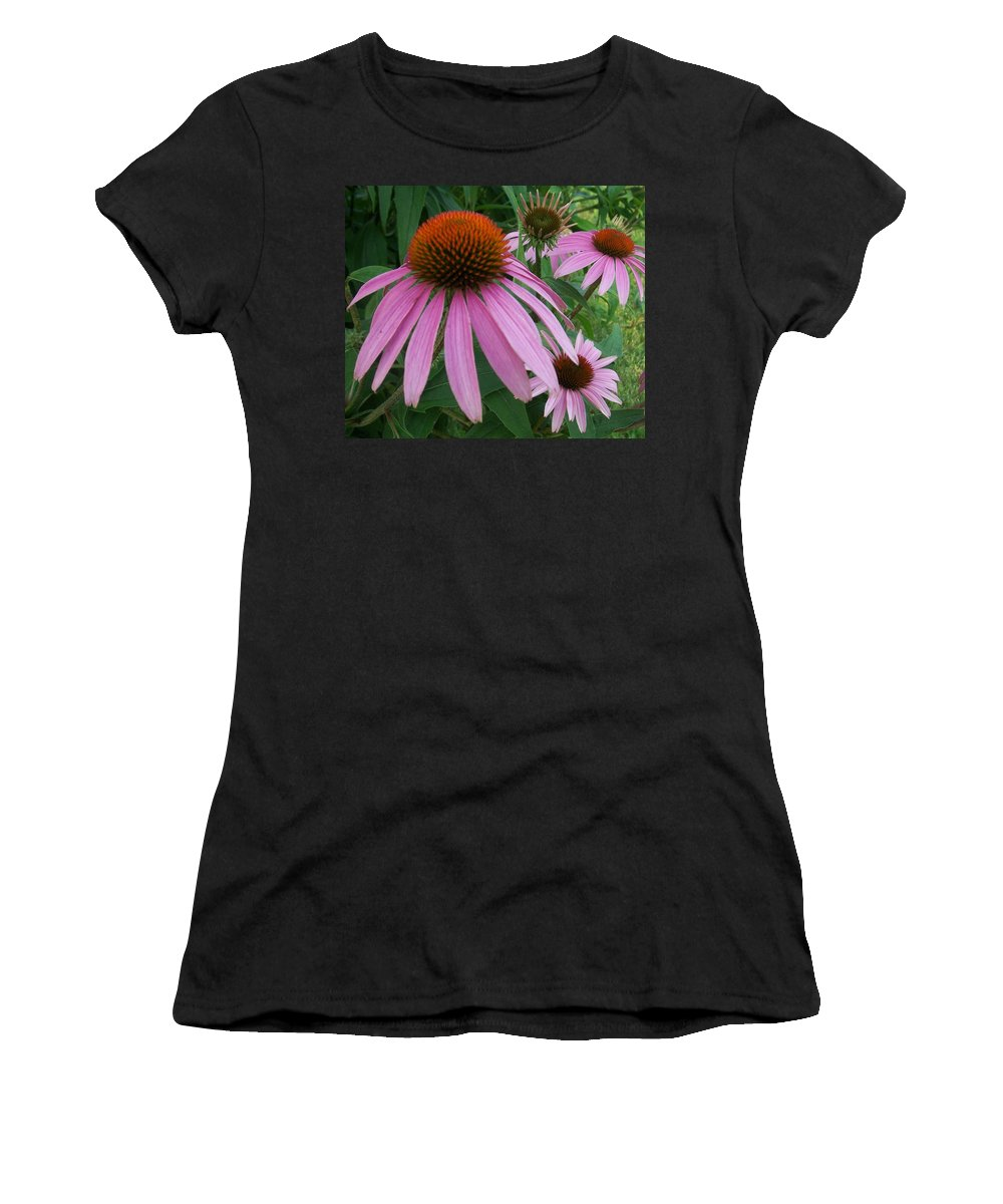 Flowers Women's T-Shirt (Athletic Fit) featuring the photograph Pink In The Garden by Anita Burgermeister