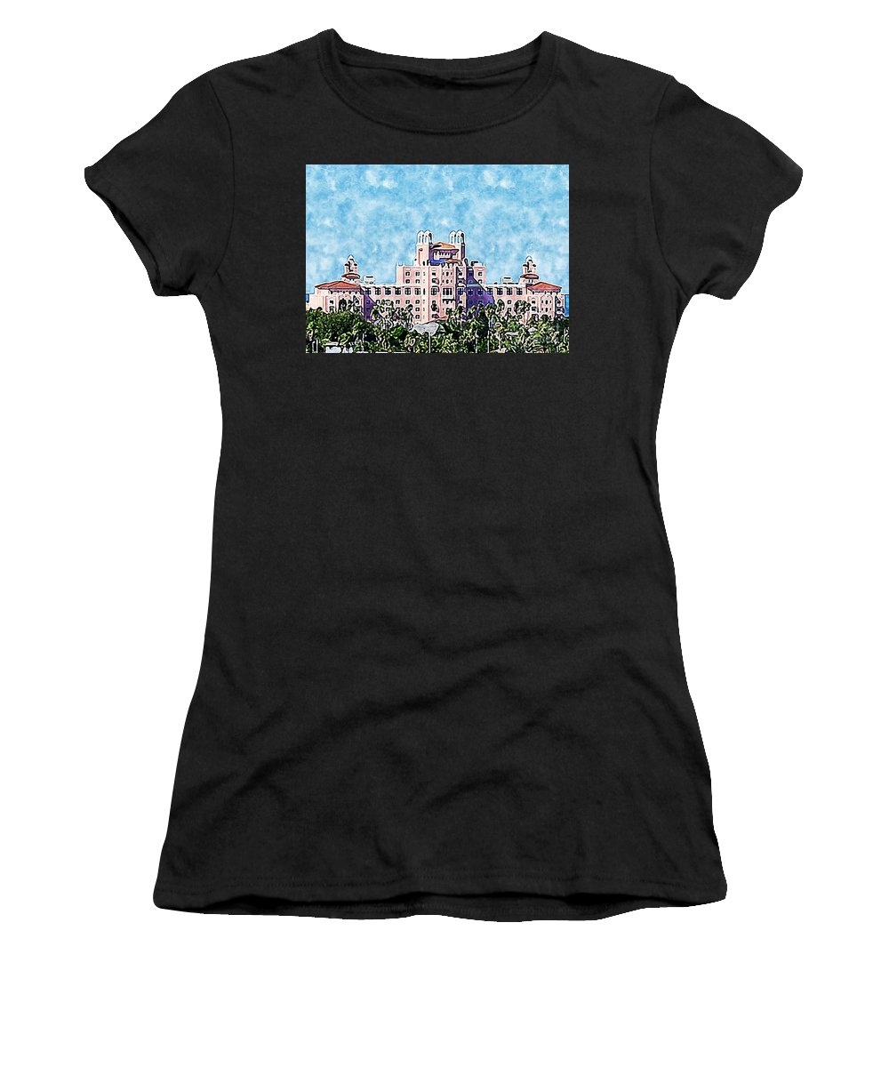 Digital_art Women's T-Shirt (Athletic Fit) featuring the photograph Pink Lady Don Cesar Watercolor by Diann Fisher