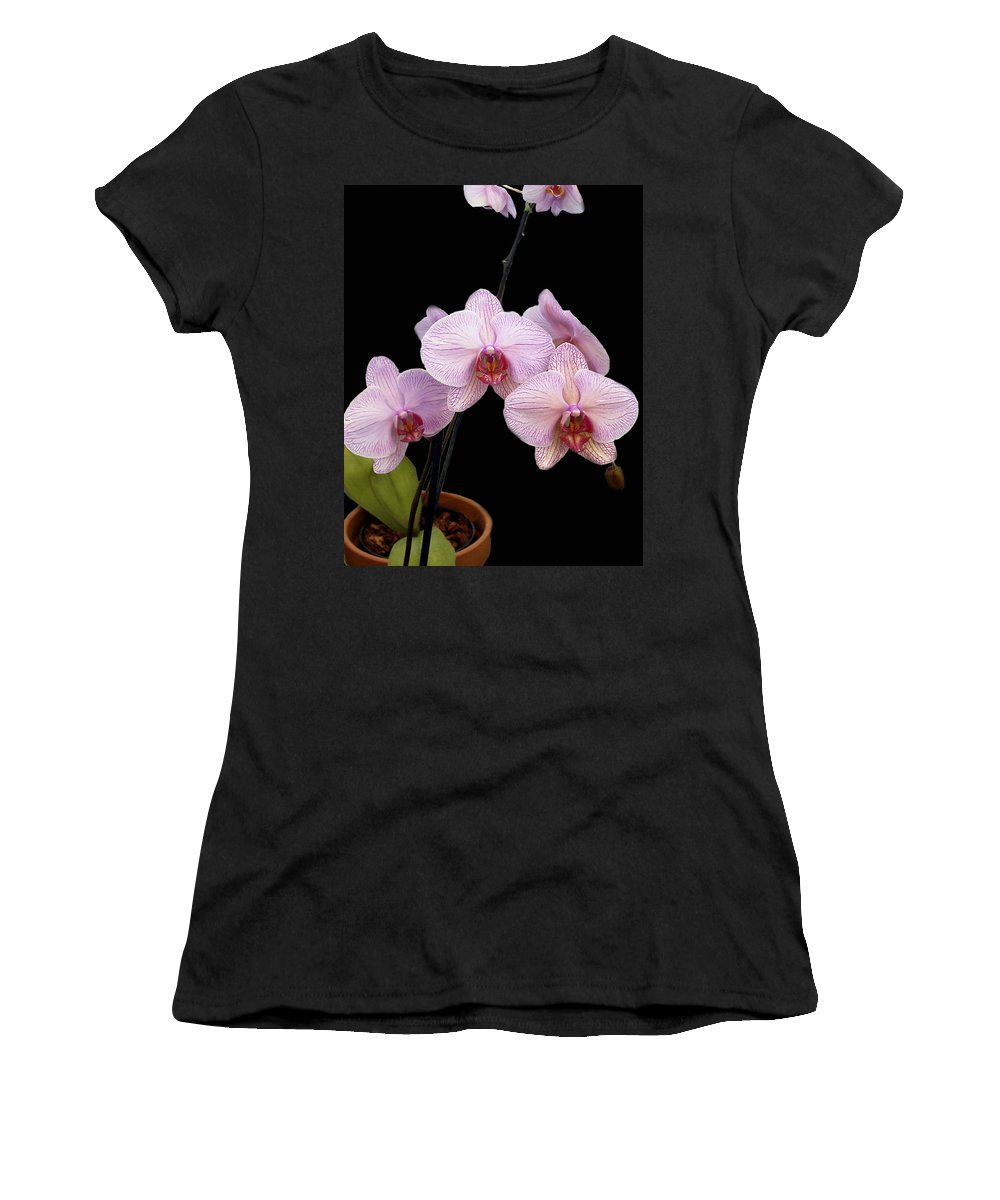 Flowers Women's T-Shirt (Athletic Fit) featuring the photograph Pink Orchids by Kurt Van Wagner