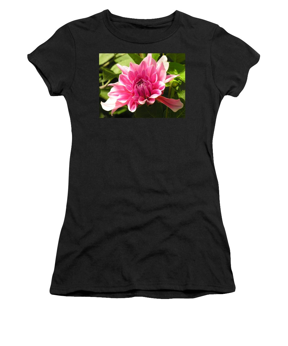 Pink Women's T-Shirt (Athletic Fit) featuring the photograph Pink Pedals by Diane Greco-Lesser
