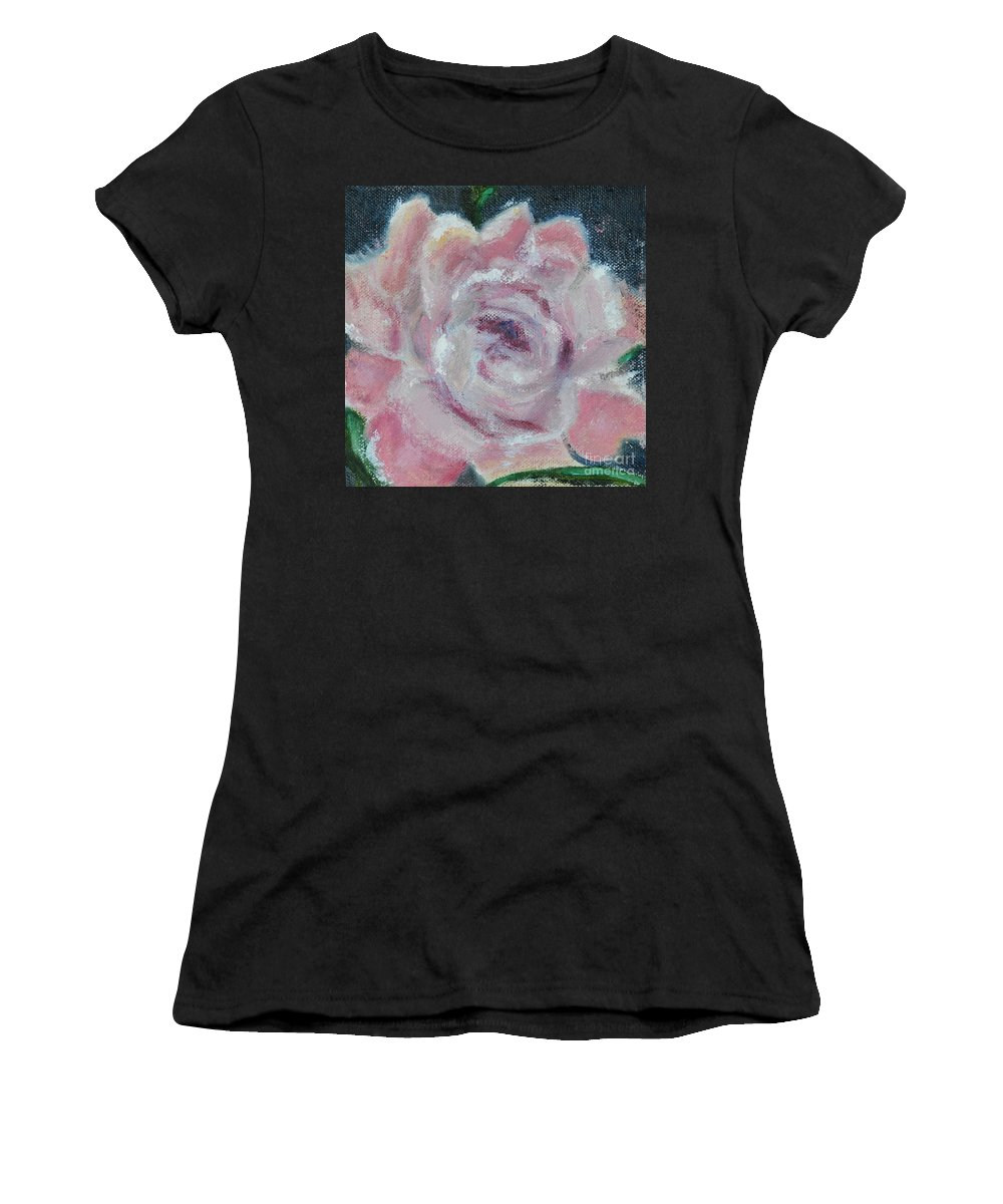Peony Pink Flower Blossom Bloom Green White Open Women's T-Shirt featuring the painting Pink Peony by Patricia Caldwell