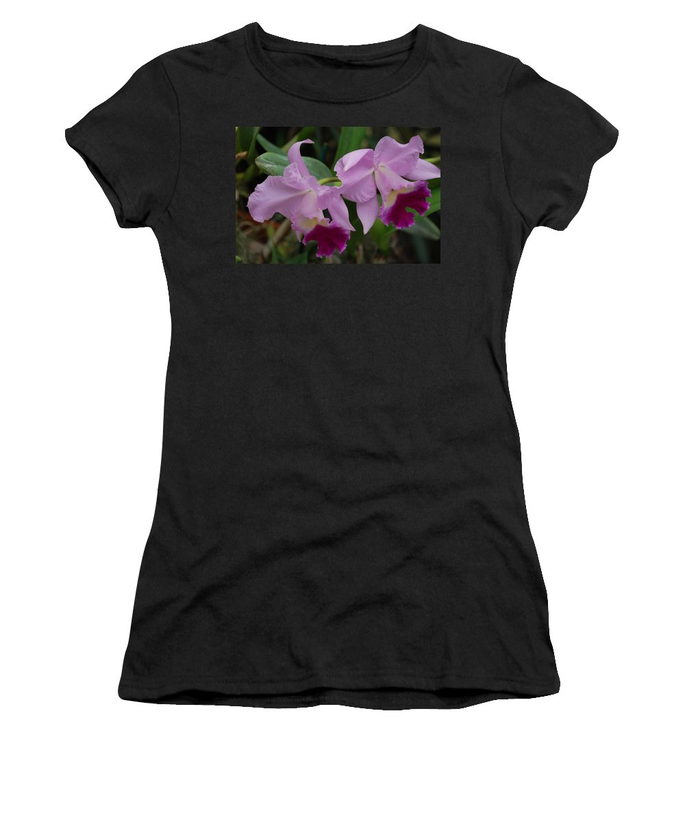Macro Women's T-Shirt (Athletic Fit) featuring the photograph Pink Purple Orchids by Rob Hans