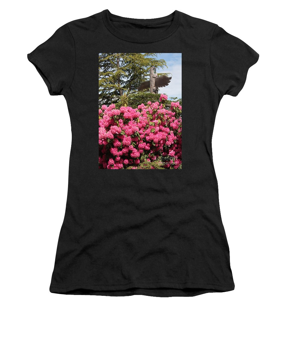 Northwest Women's T-Shirt (Athletic Fit) featuring the photograph Pink Rhododendrons With Totem Pole by Carol Groenen