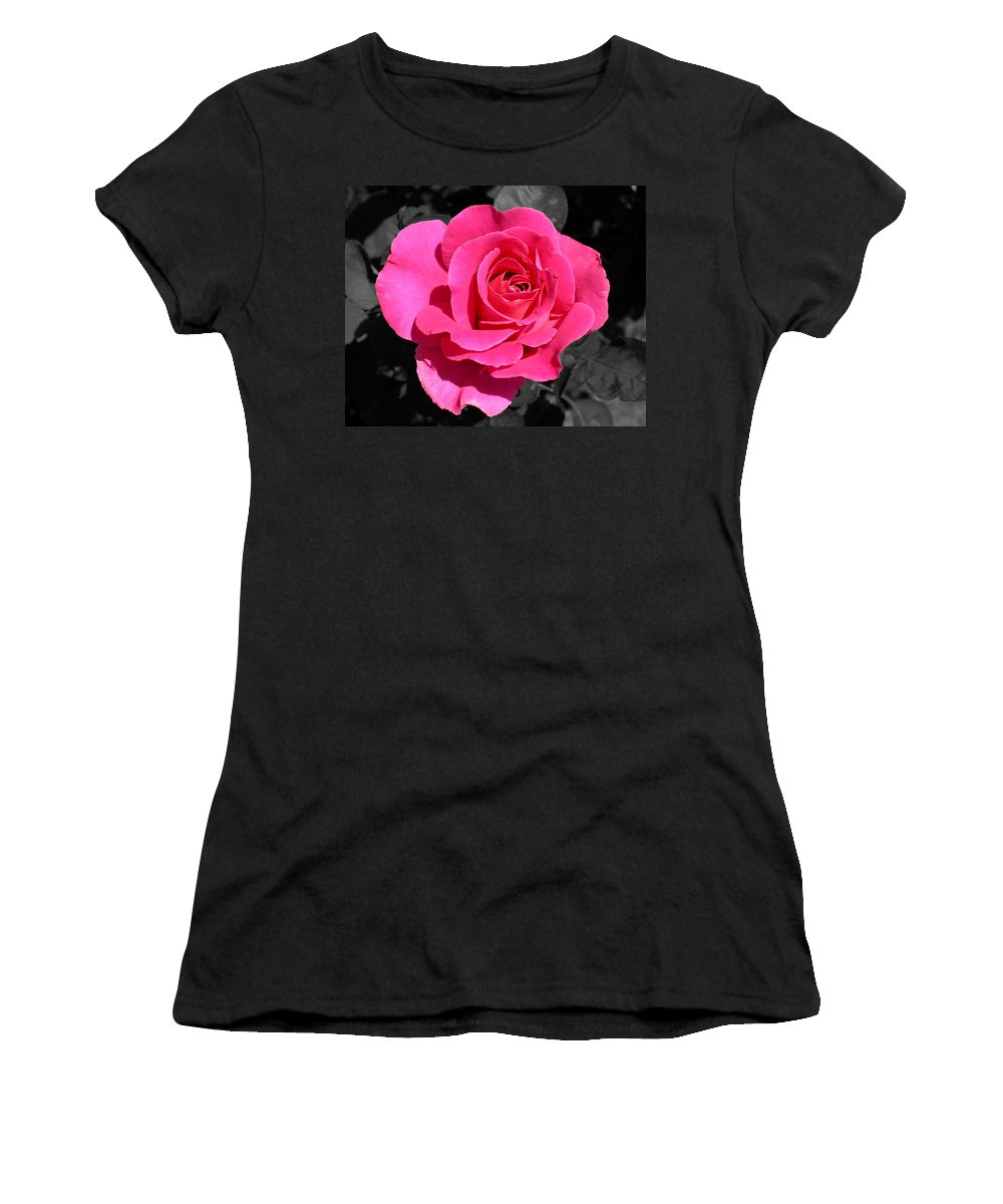 Pink Women's T-Shirt (Athletic Fit) featuring the photograph Perfect Pink Rose by Michael Bessler