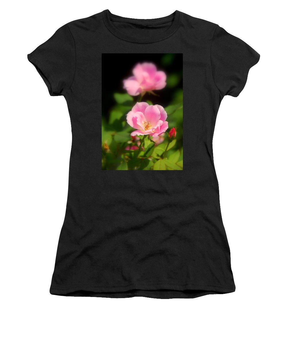 Pink Rose Women's T-Shirt (Athletic Fit) featuring the photograph Pink Rose by Susanne Van Hulst