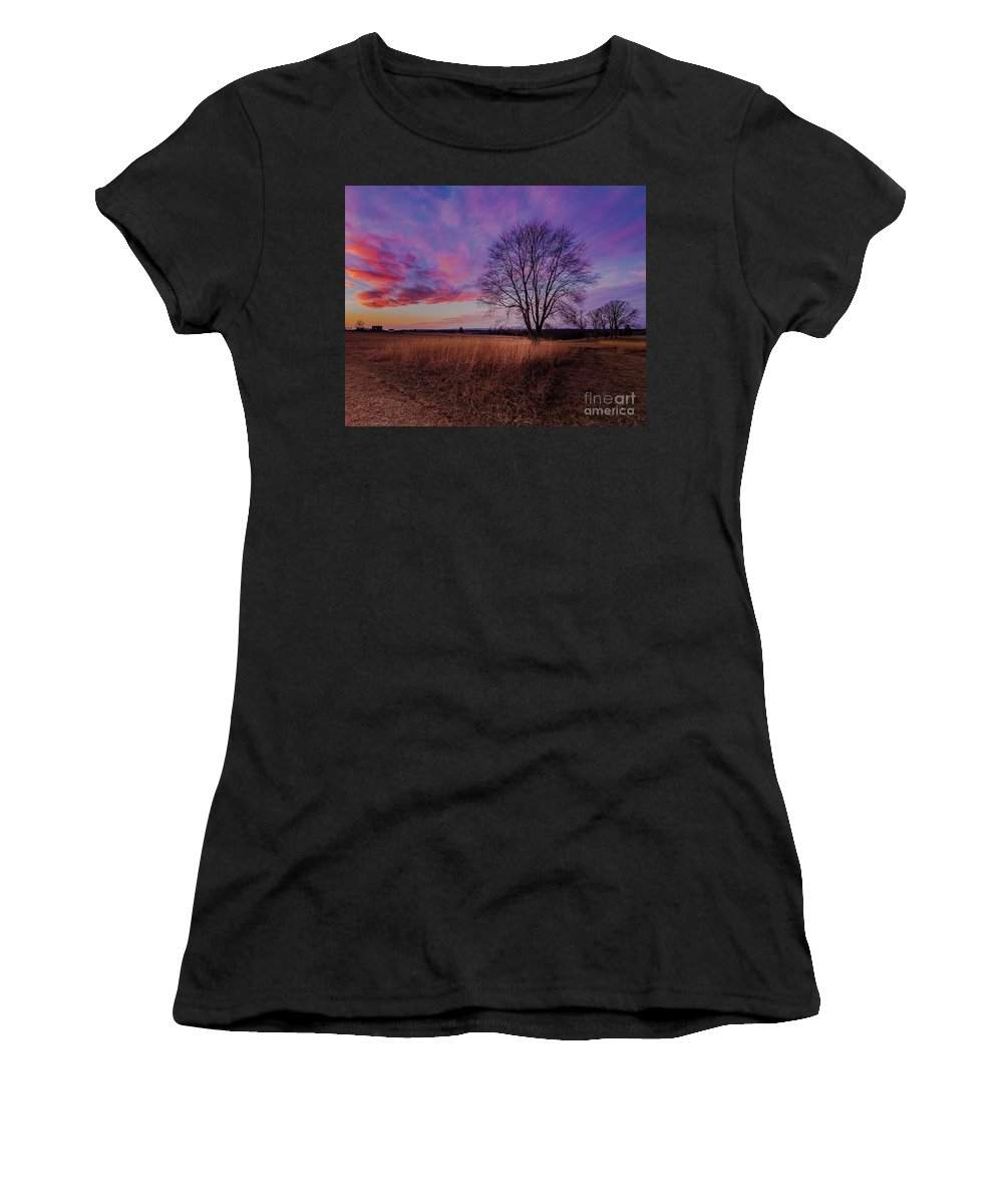 Pink Women's T-Shirt (Athletic Fit) featuring the photograph Pink Sunset by Blaine Blasdell