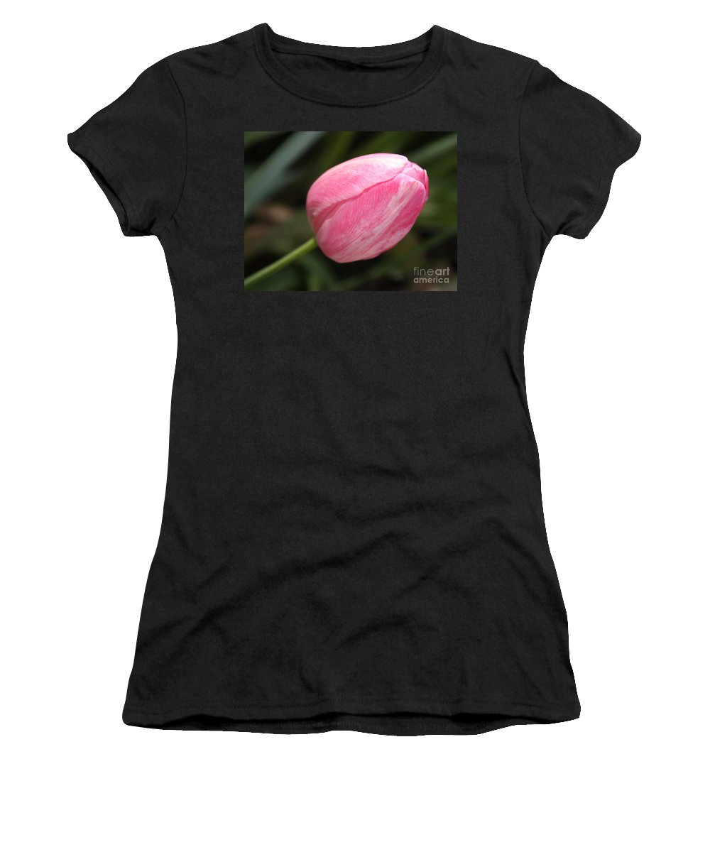 Tulip Women's T-Shirt (Athletic Fit) featuring the photograph Pink Tulip Closeup by Carol Groenen