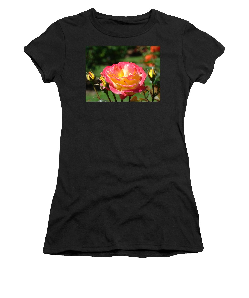 Rose Women's T-Shirt (Athletic Fit) featuring the photograph Pink Yellow Roses 3 Summer Rose Garden Giclee Art Prints Baslee Troutman by Baslee Troutman