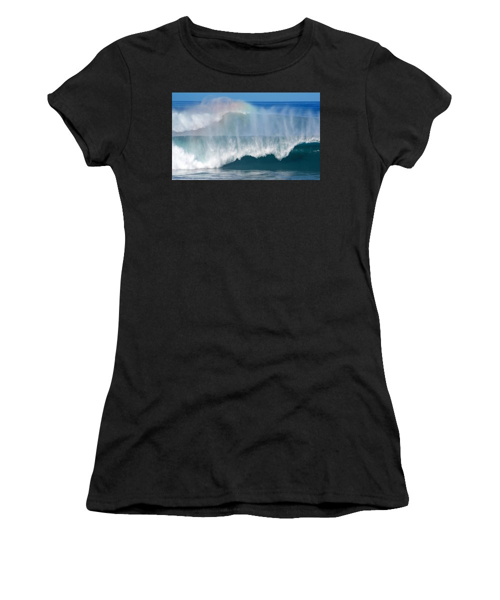 Rainbow Women's T-Shirt (Athletic Fit) featuring the photograph Pipeline Rainbow by Kevin Smith