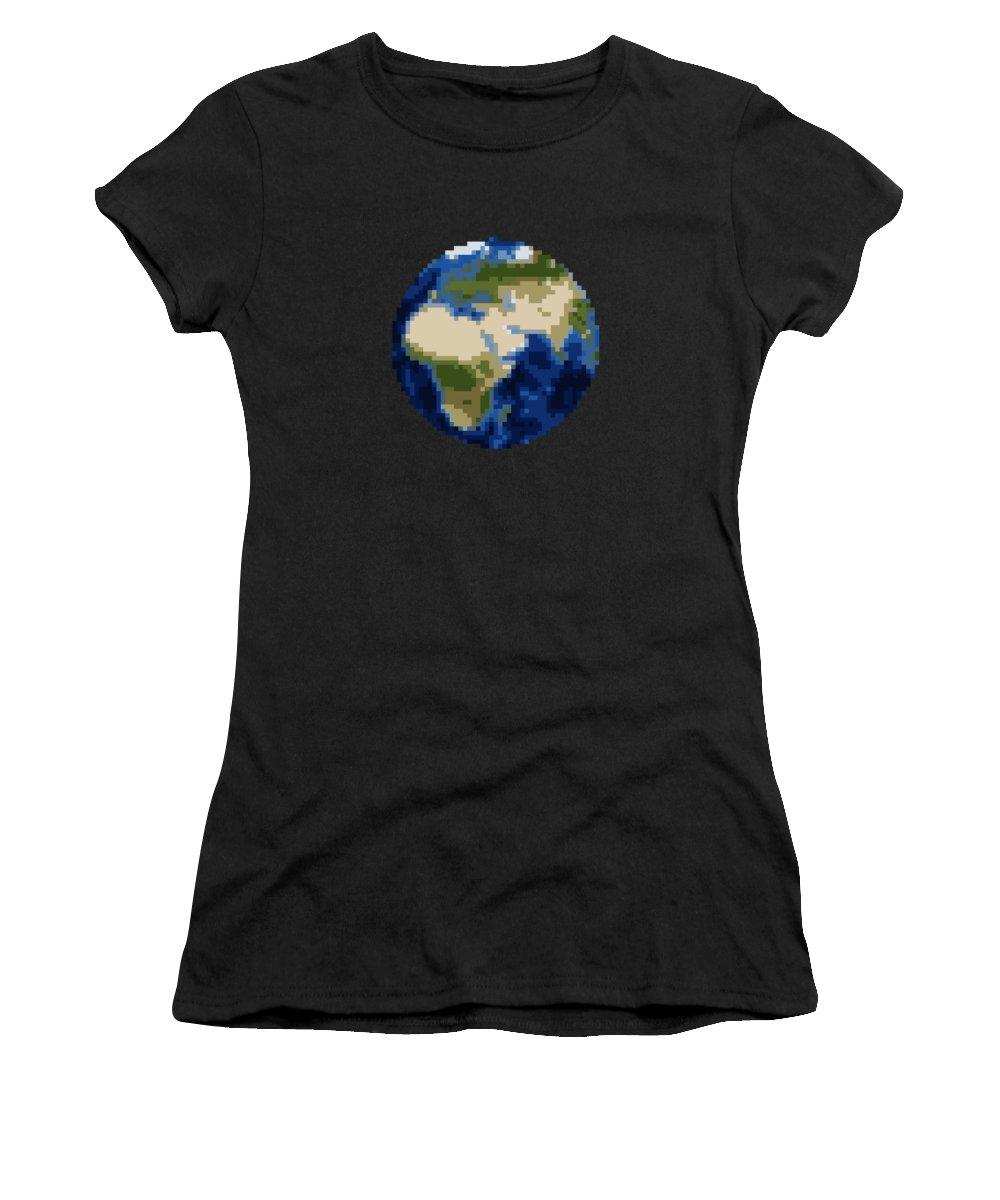 Pixel Art Women's T-Shirt featuring the digital art Pixel Earth Design by Martin Capek