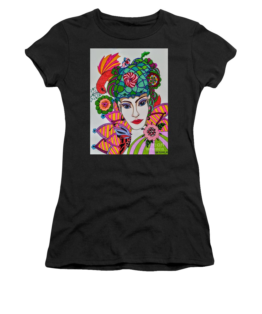 Fairy Women's T-Shirt (Athletic Fit) featuring the drawing Pixie Girl by Alison Caltrider