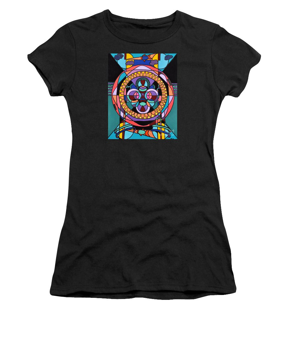 Surreal - Dream Works-mandala Women's T-Shirt (Athletic Fit) featuring the painting Planet Earth by Reb Frost