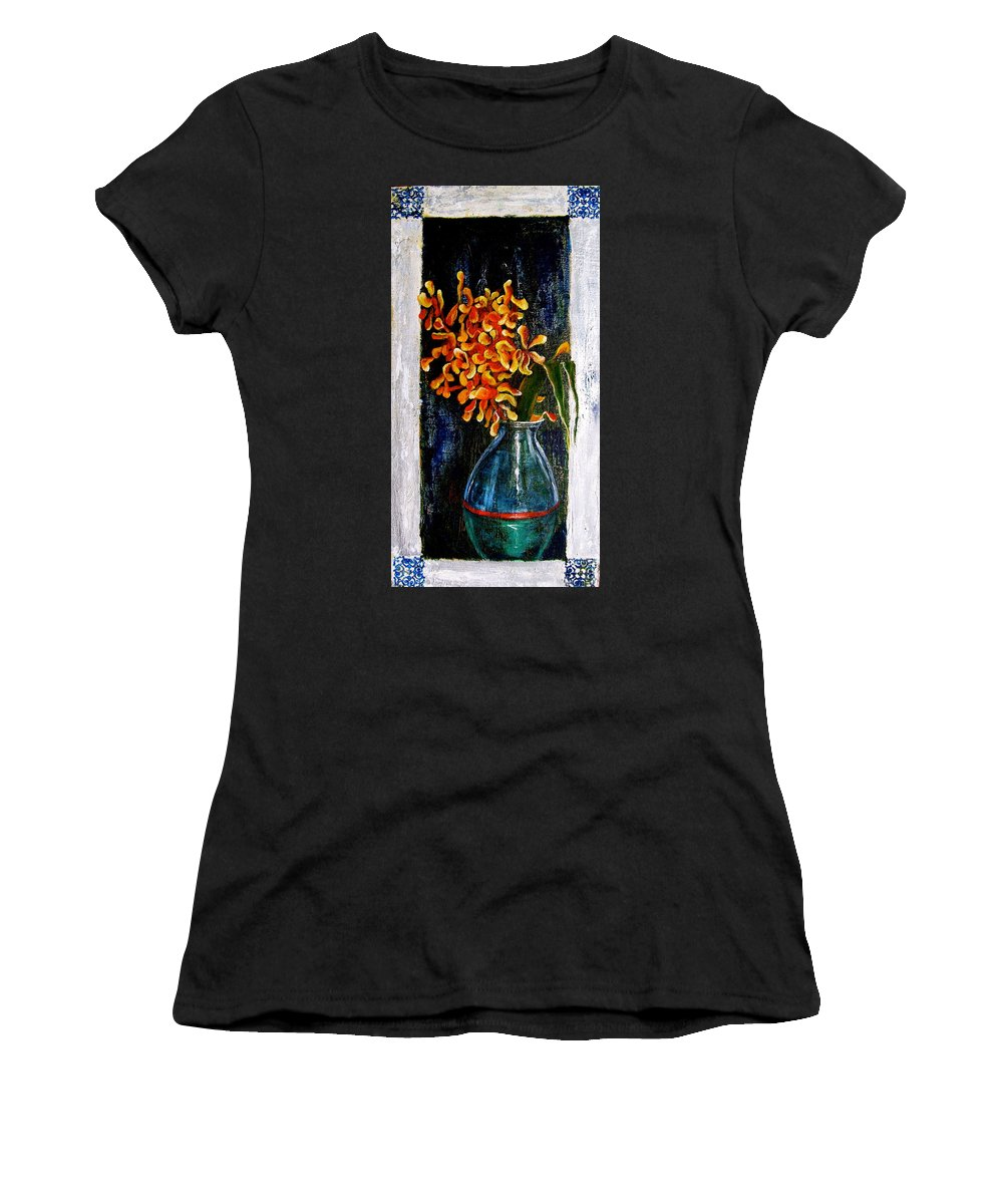 Beautiful Art Women's T-Shirt (Athletic Fit) featuring the painting Plant by Laura Pierre-Louis