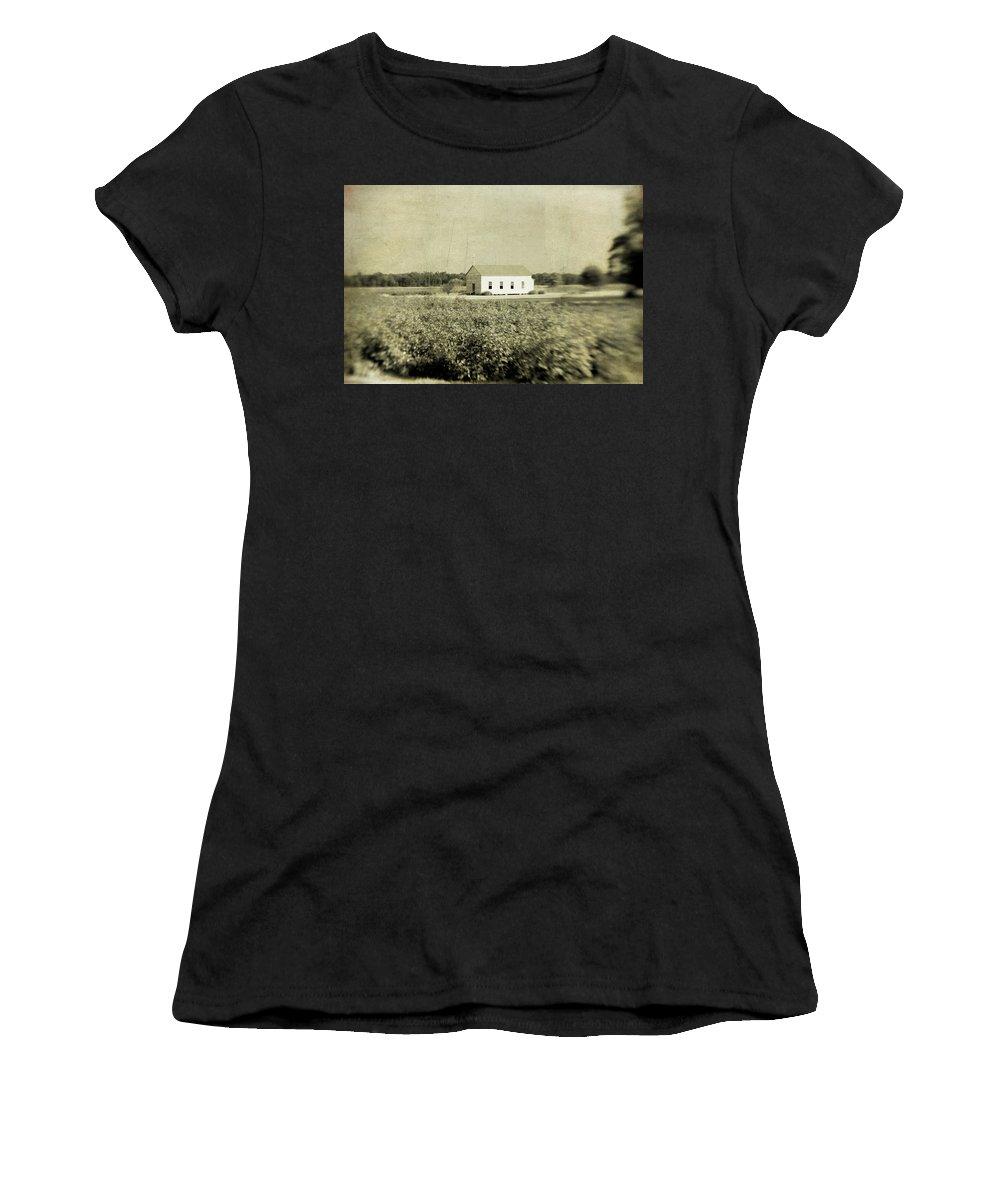 Church Women's T-Shirt featuring the photograph Plantation Church - Sepia Texture by Scott Pellegrin