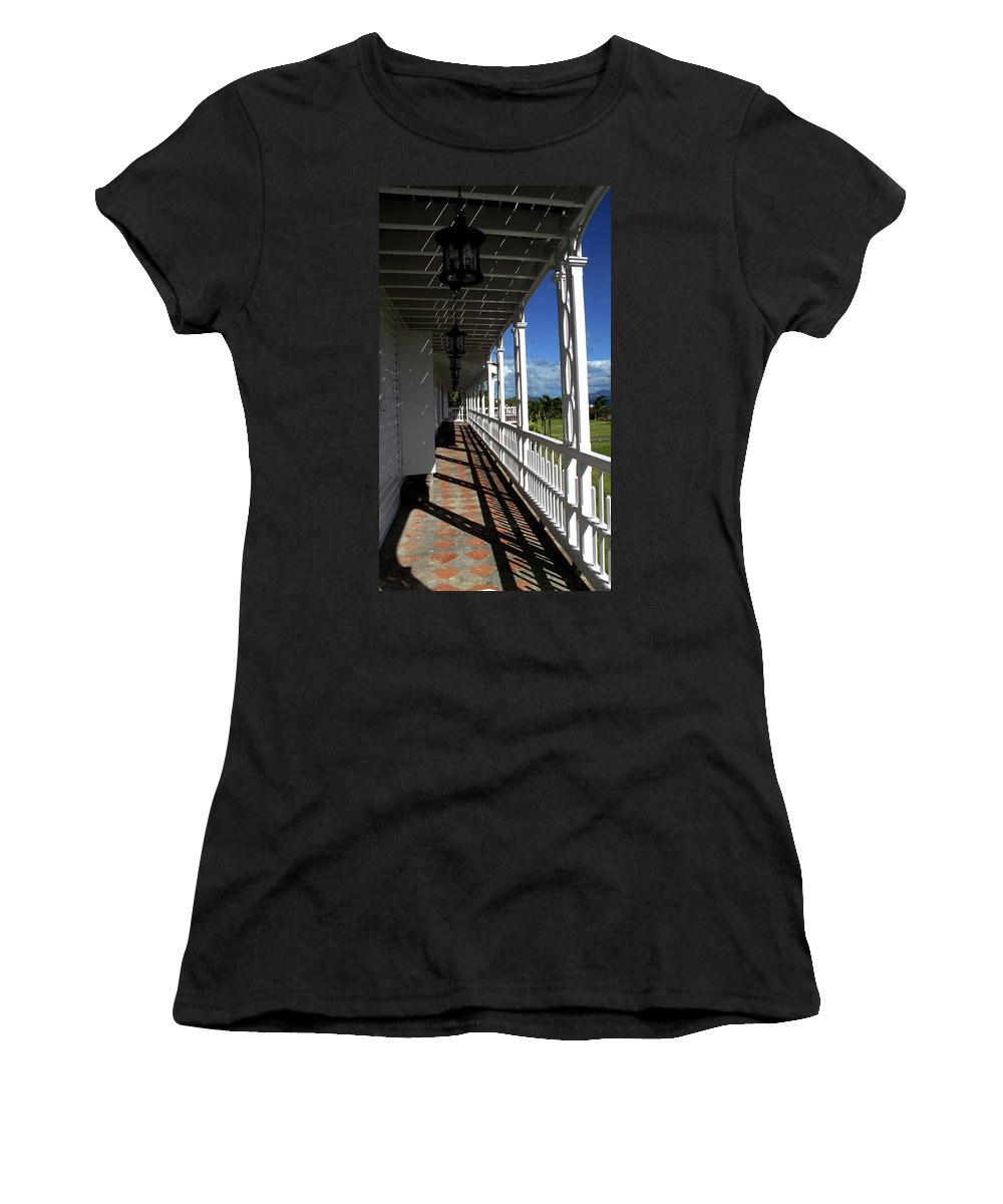Porch Women's T-Shirt (Athletic Fit) featuring the photograph Plantation Porch by Ian MacDonald