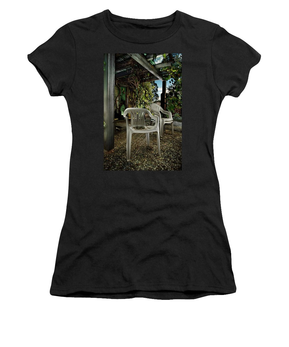 Paint Women's T-Shirt (Athletic Fit) featuring the photograph Plastic Chairs by Yo Pedro
