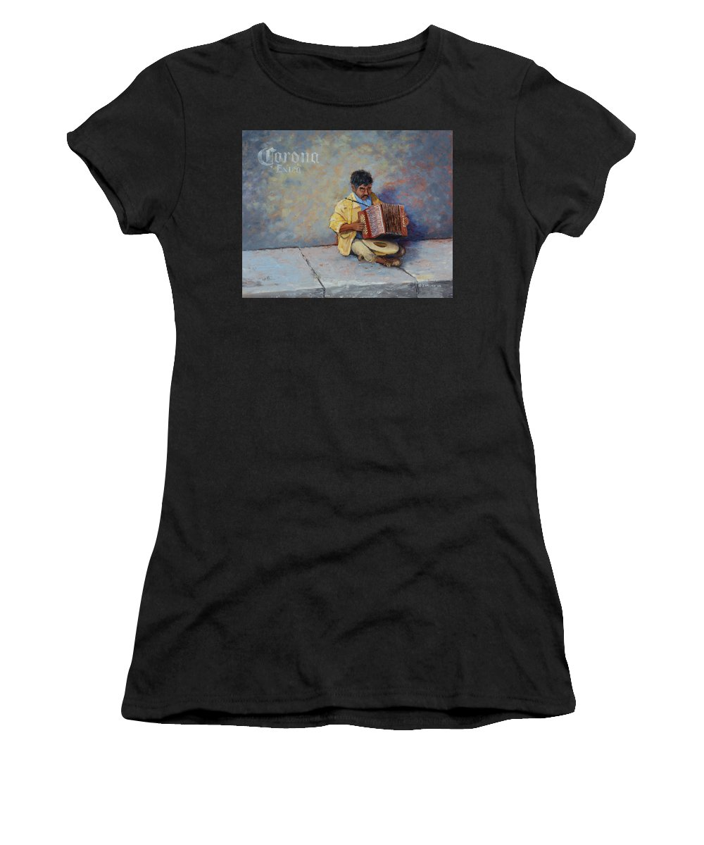 Mexico Women's T-Shirt featuring the painting Playing For Pesos by Jerry McElroy