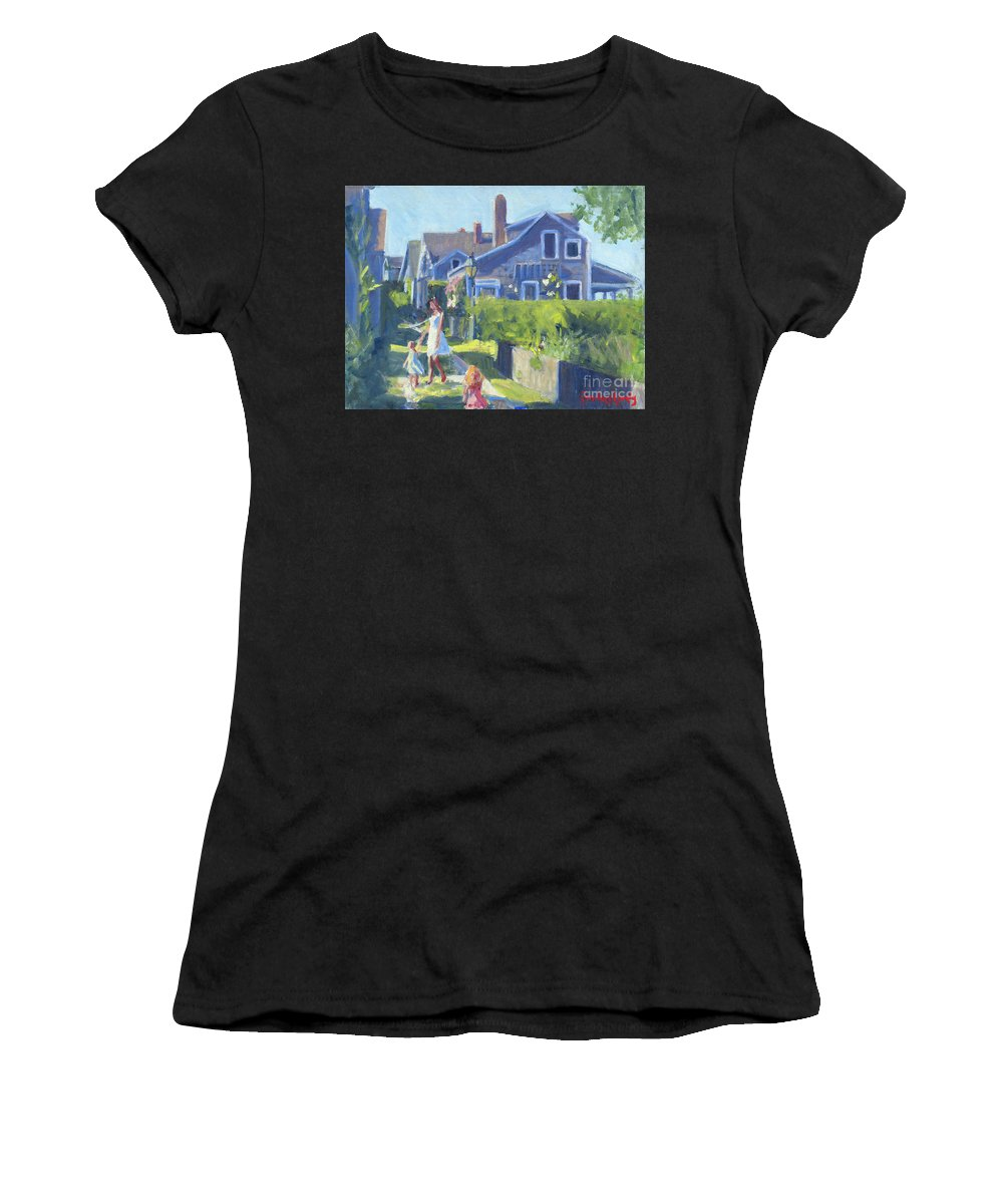 Playing On Front Street Women's T-Shirt featuring the painting Playing On Front Street by Candace Lovely