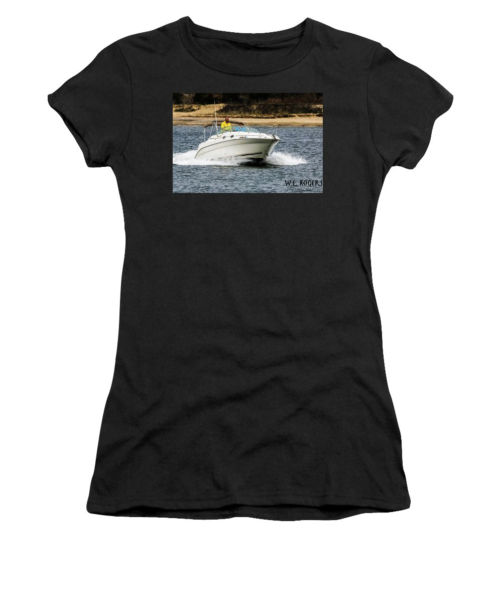 This Is A Photo Of A Pleasure Boat Heading Through The Manasquan Inlet And Out To The Atlantic Ocean In New Jersey. Women's T-Shirt featuring the photograph Pleasure Boat by William Rogers