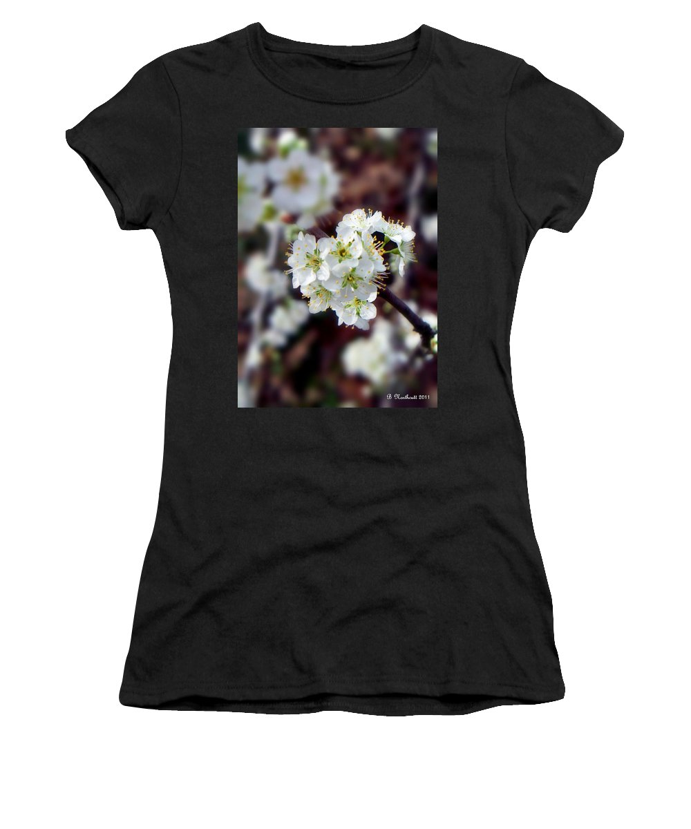 Plum Women's T-Shirt (Athletic Fit) featuring the photograph Plum Tree Blossoms II by Betty Northcutt