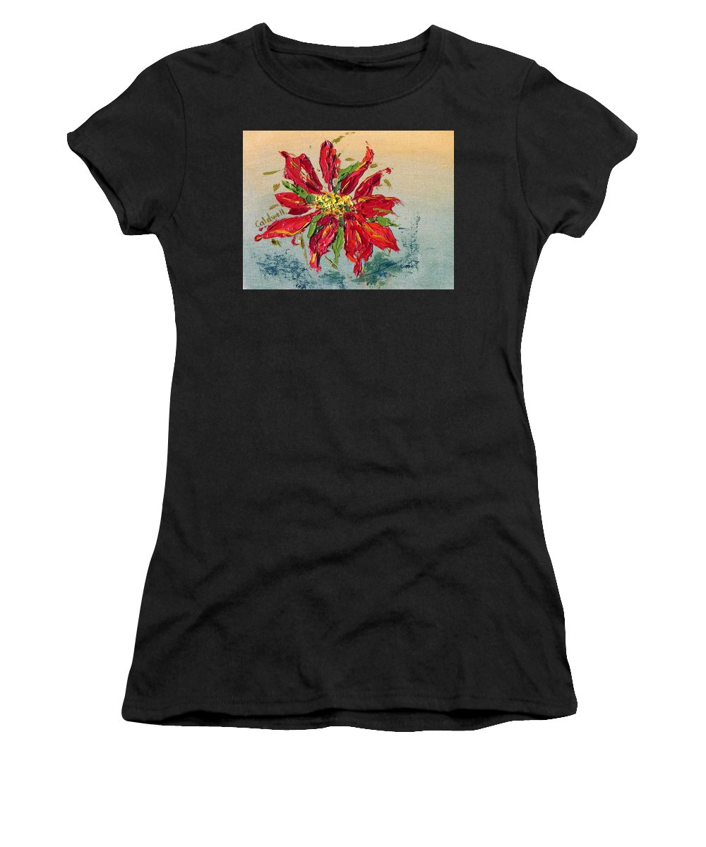 Red Flower Christmas Holiday Green Women's T-Shirt featuring the painting Poinsettia by Patricia Caldwell
