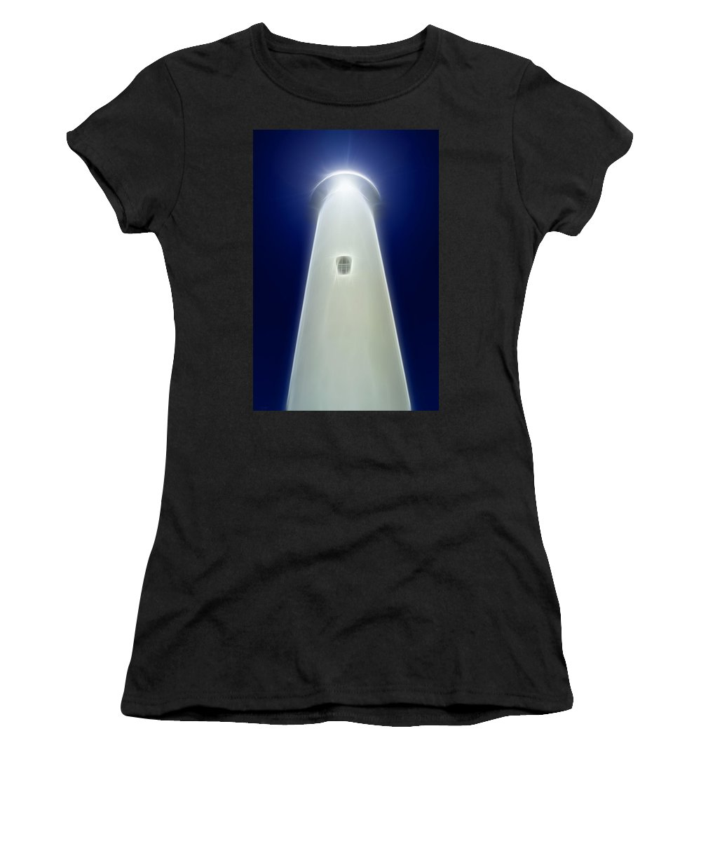 Lighthouse Women's T-Shirt (Athletic Fit) featuring the digital art Point Arena Lighthouse by Holly Ethan