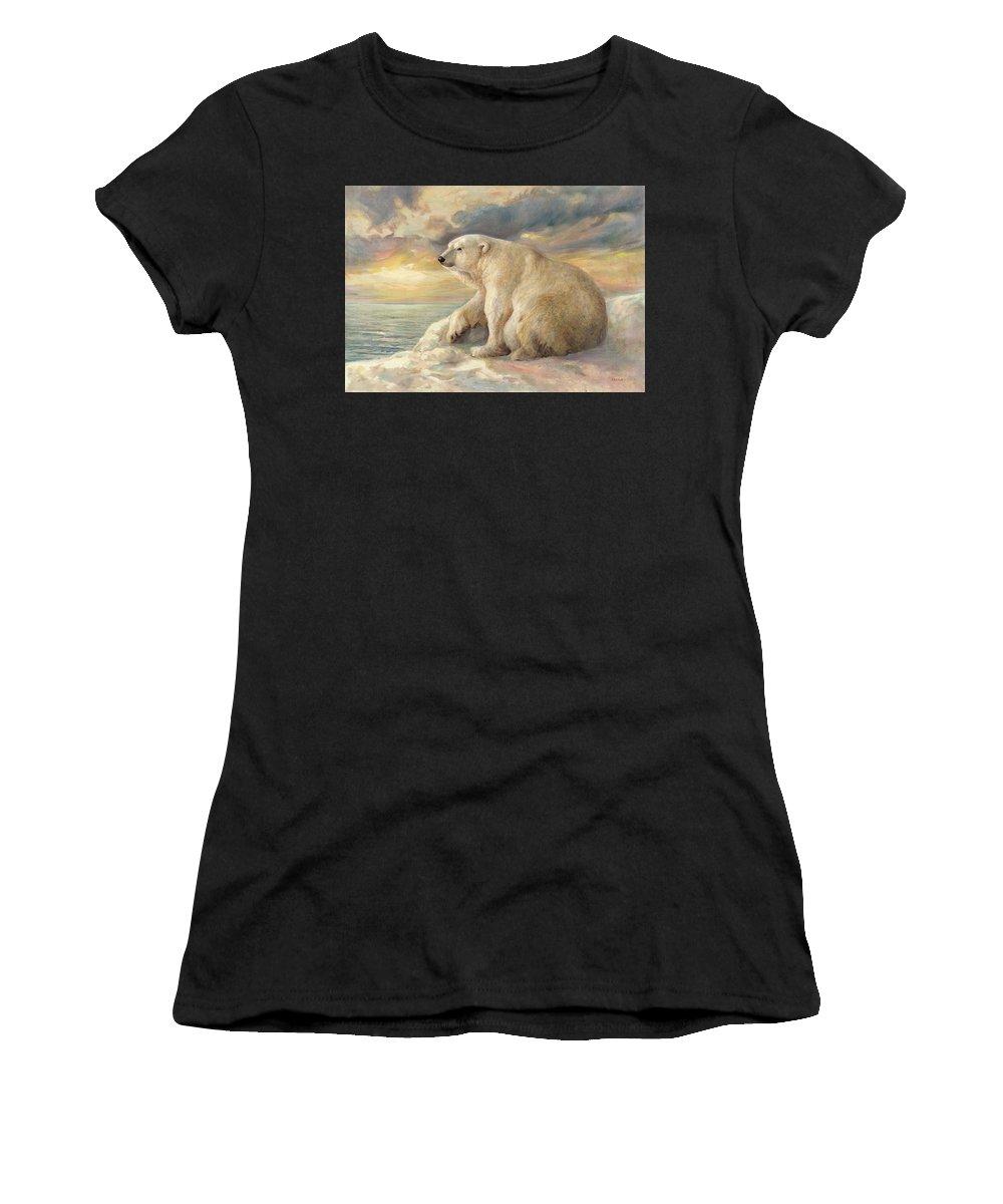 Polar Bear Women's T-Shirt featuring the painting Polar Bear Rests On The Ice - Arctic Alaska by Svitozar Nenyuk