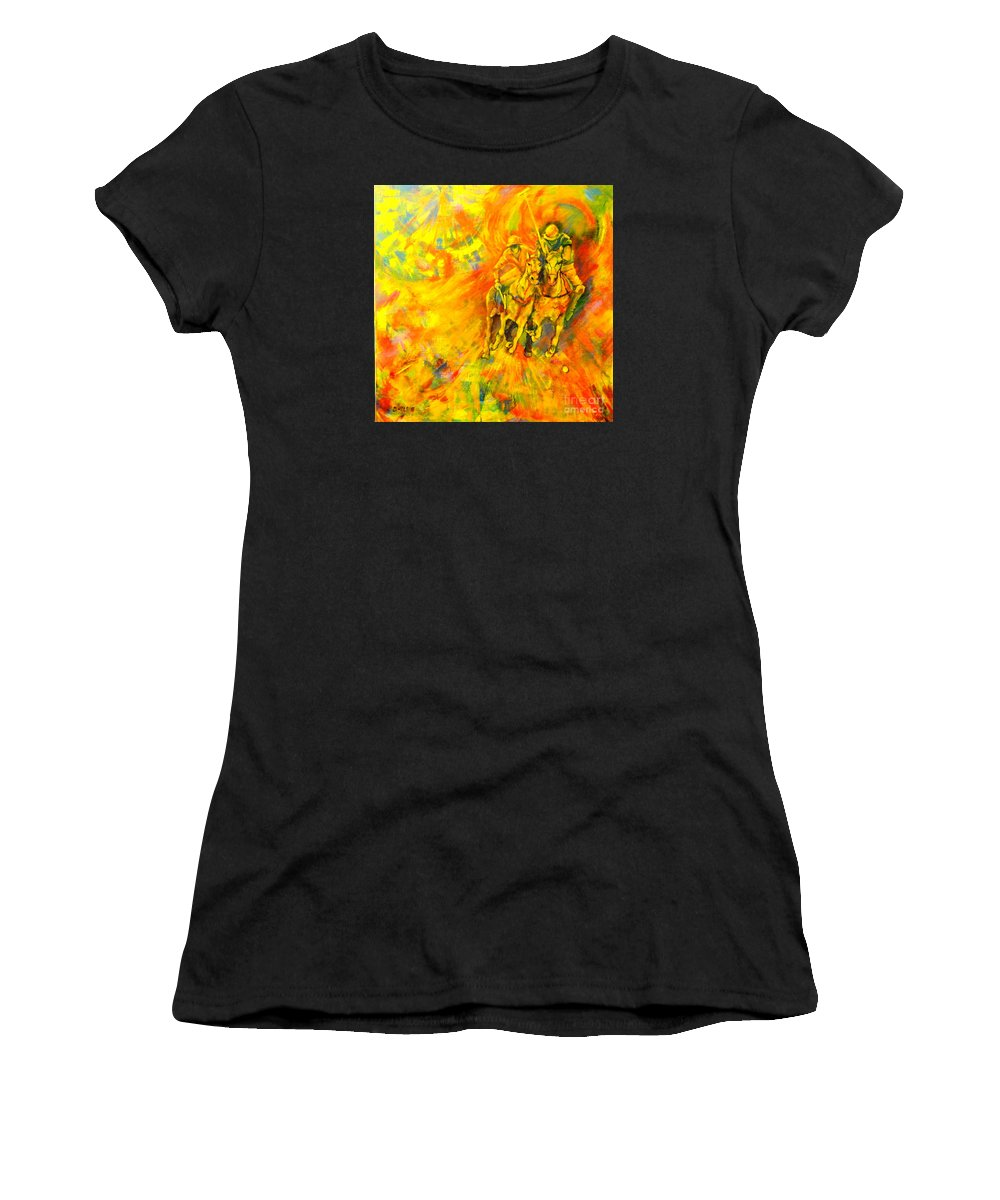 Horses Women's T-Shirt featuring the painting Poloplayer by Dagmar Helbig